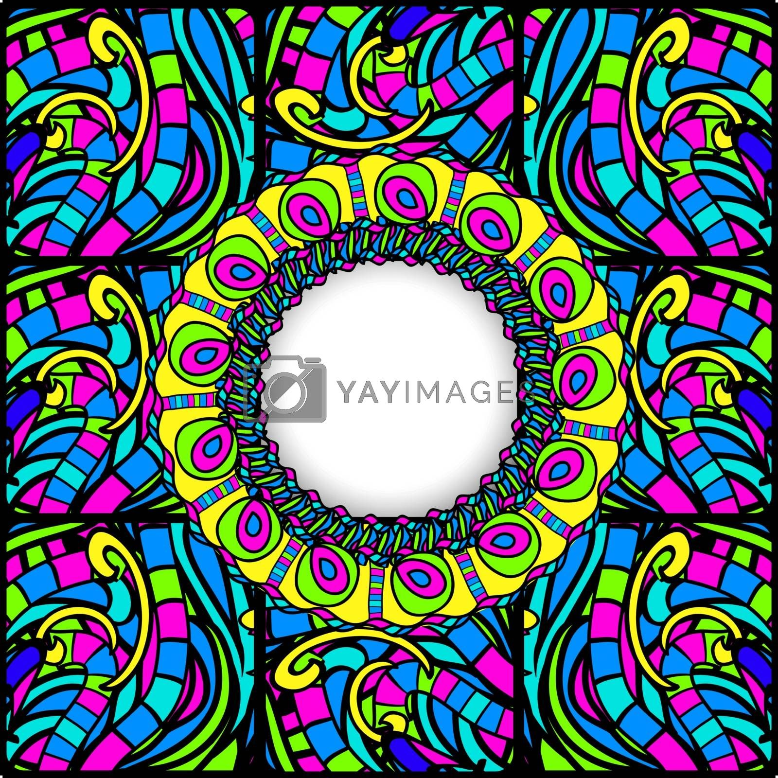 Multicolored Stained-Glass Abstract Round Frame, Copyspace