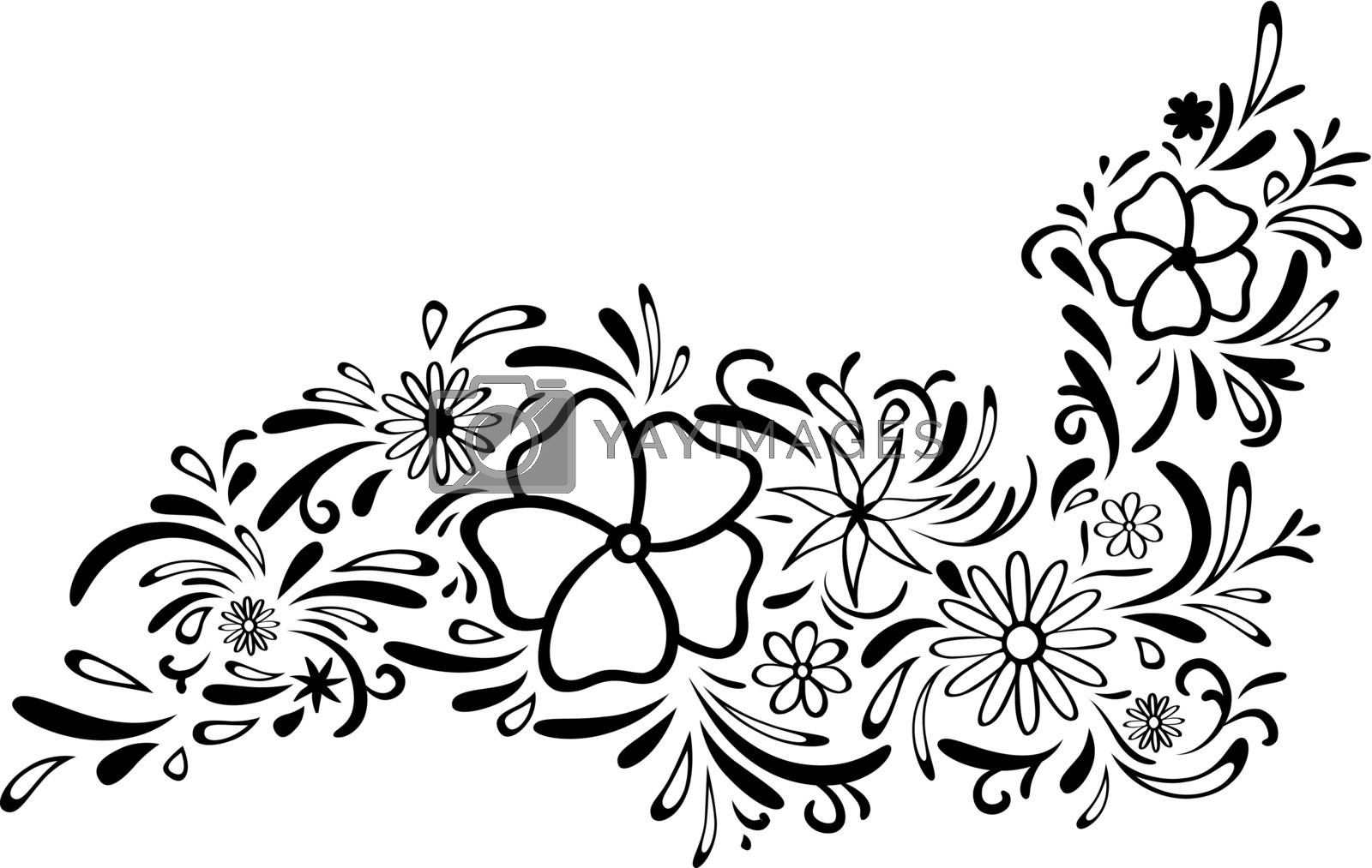 Abstract Floral Border, Copyspace For Your Text