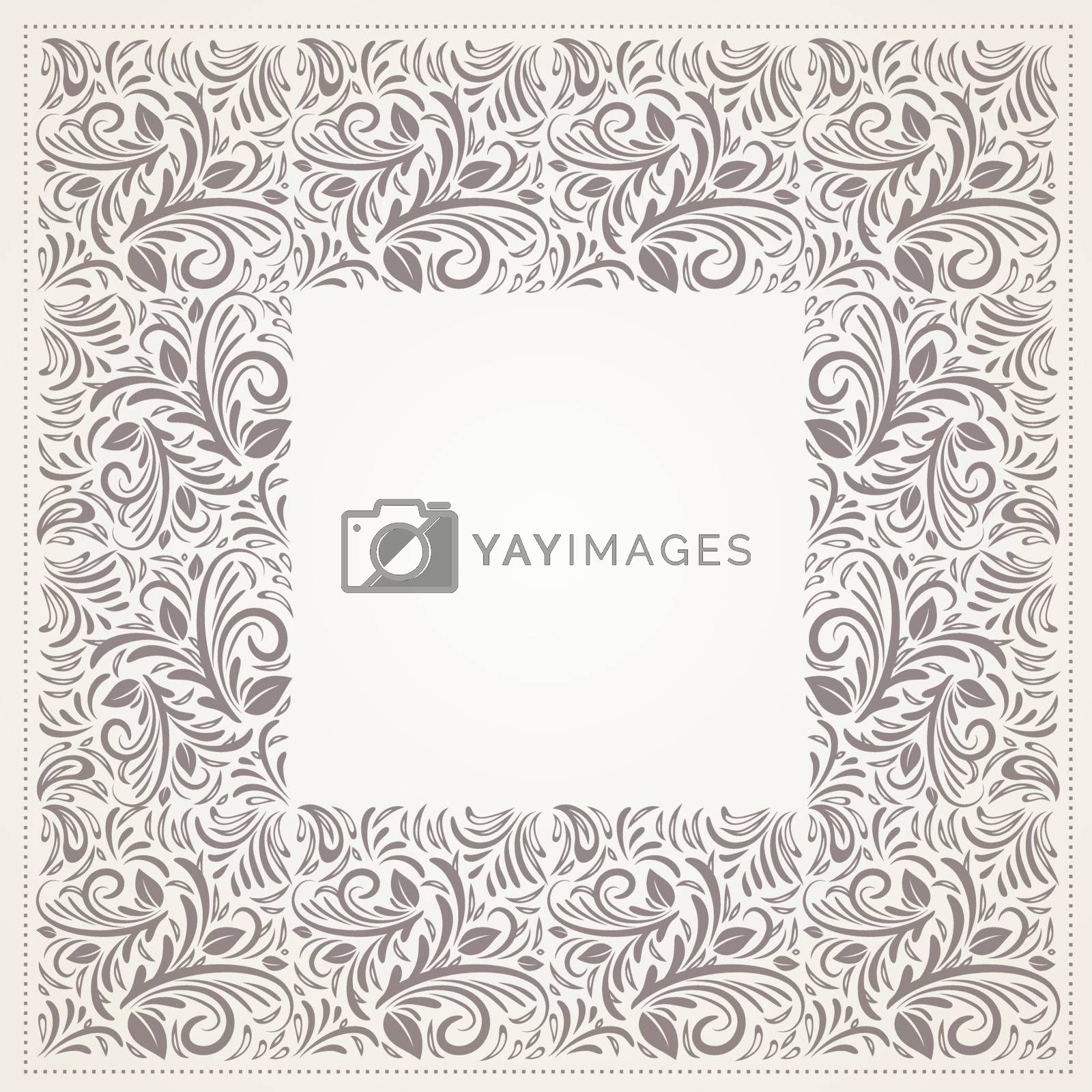 Vintage Floral Frame With Copyspace Over White