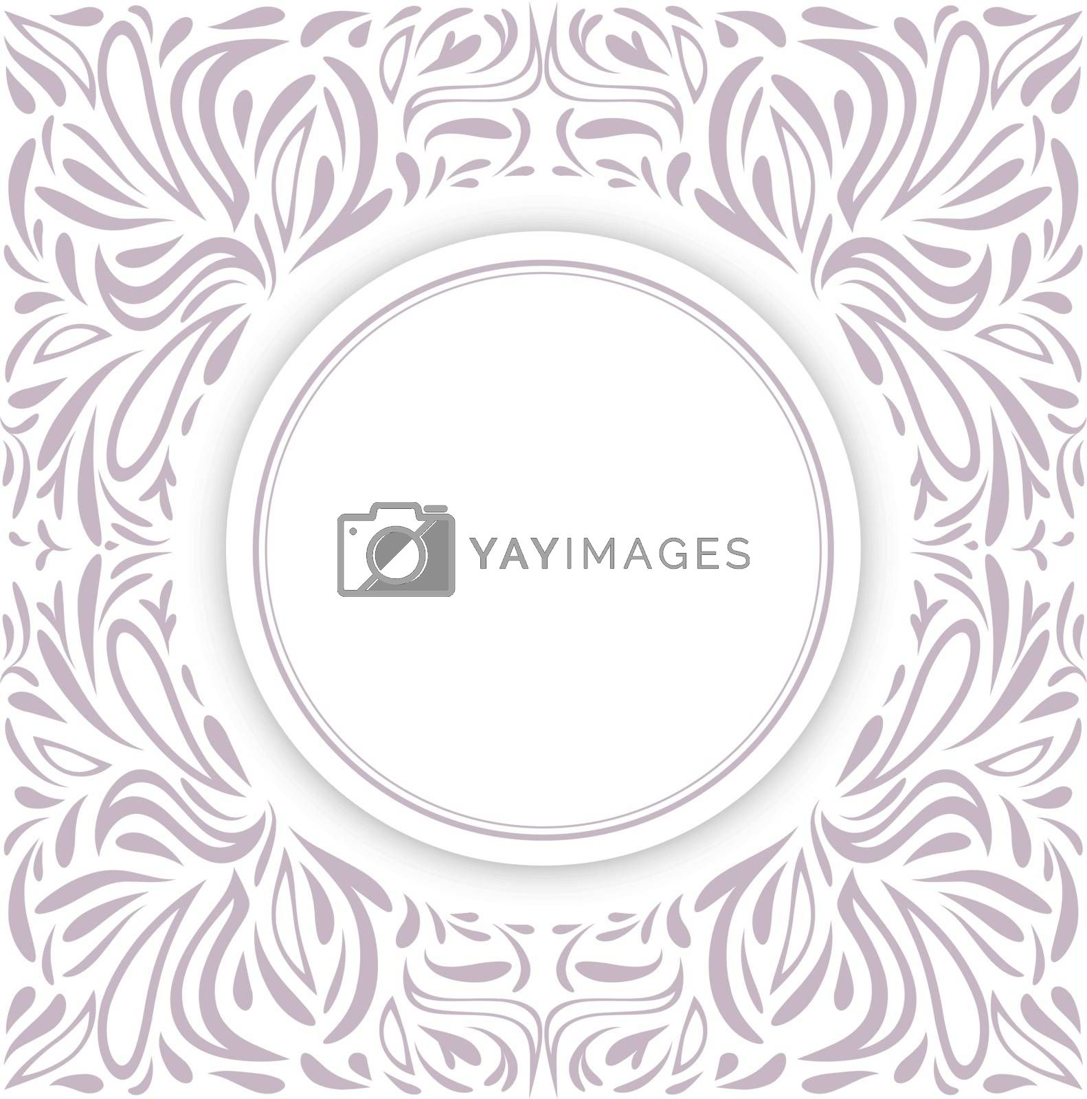 Round Frame Over Floral Decorative Background, Copyspace