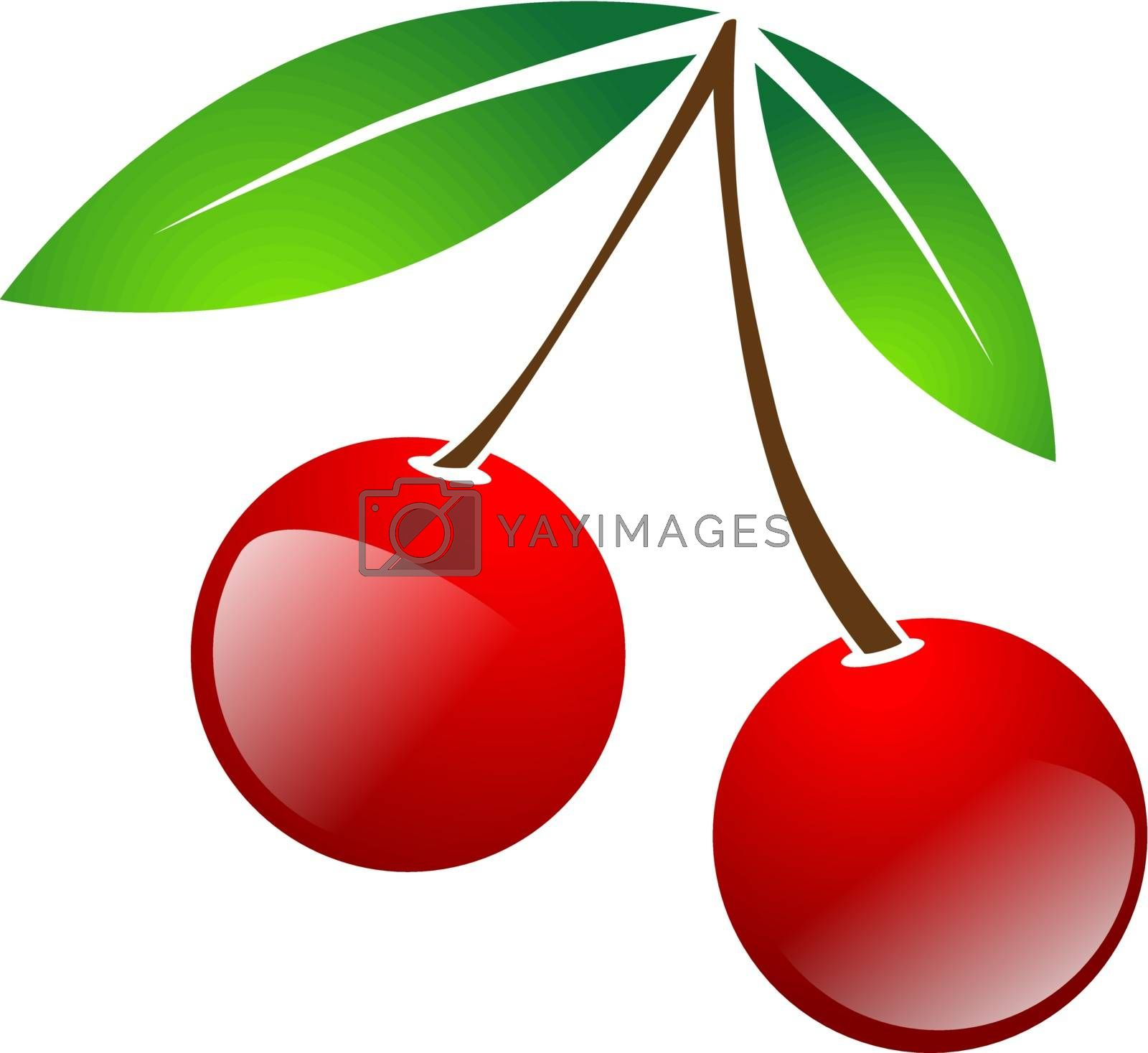 Red Simple Cherry Berries With Green Leaves Over White