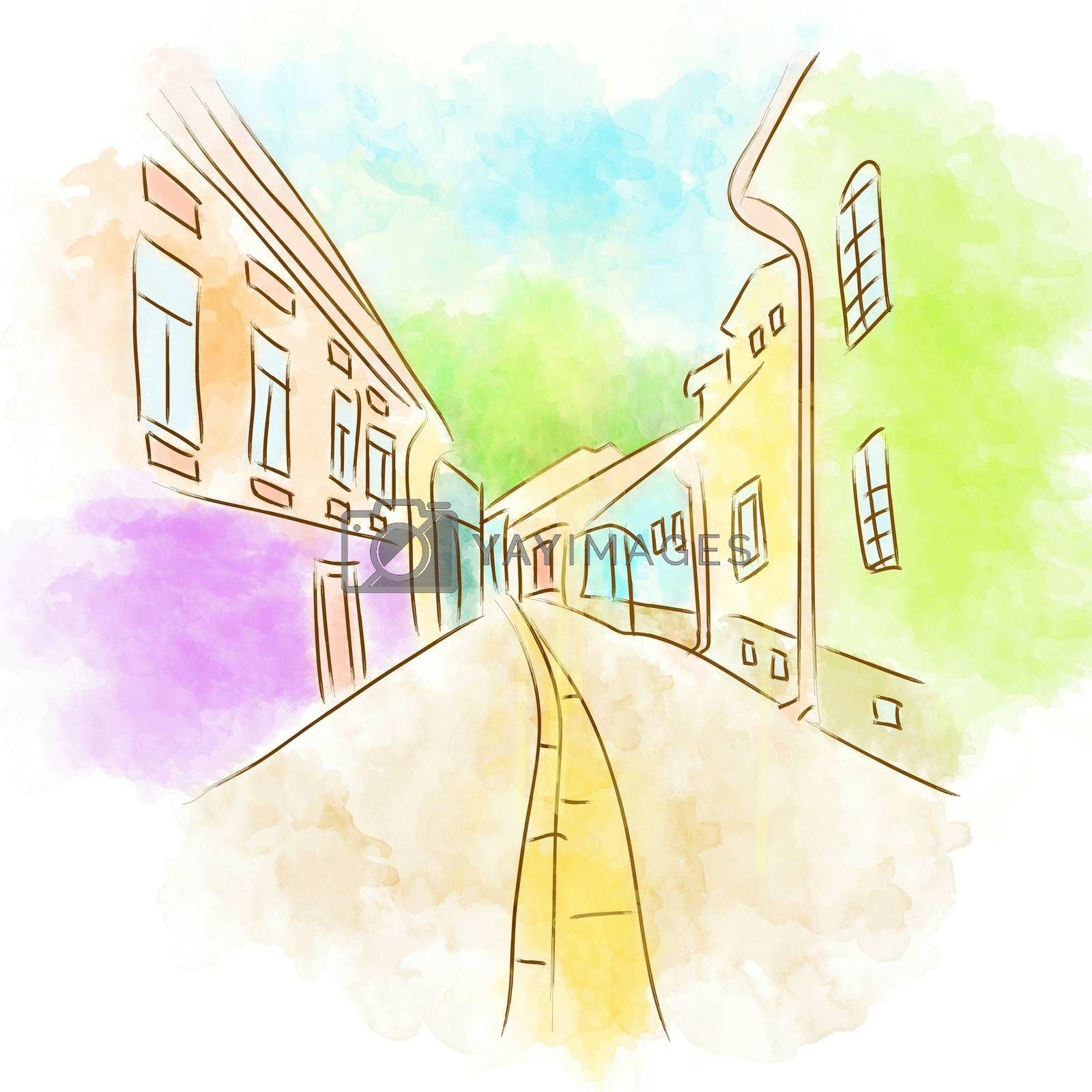 Illustration of Abstract Old Town Street