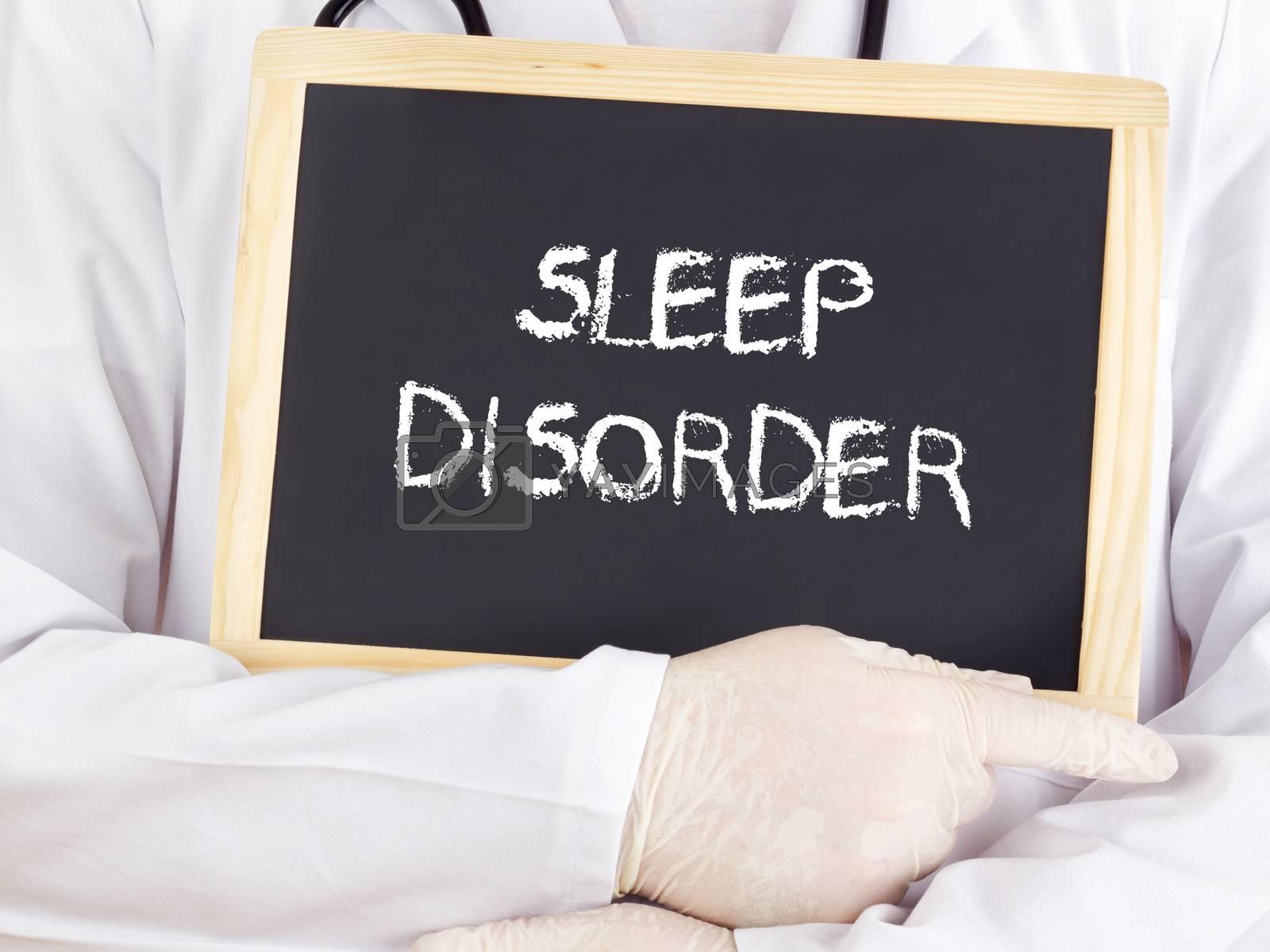 Doctor shows information on blackboard: sleep disorder