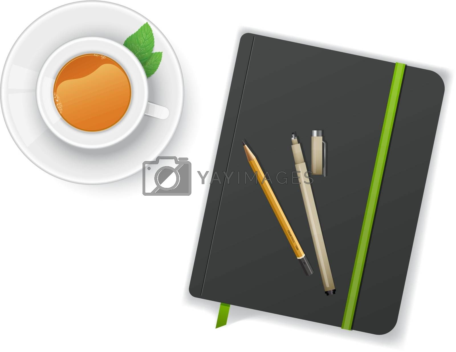 Vector illustration of Notebook with pen and cup of tea