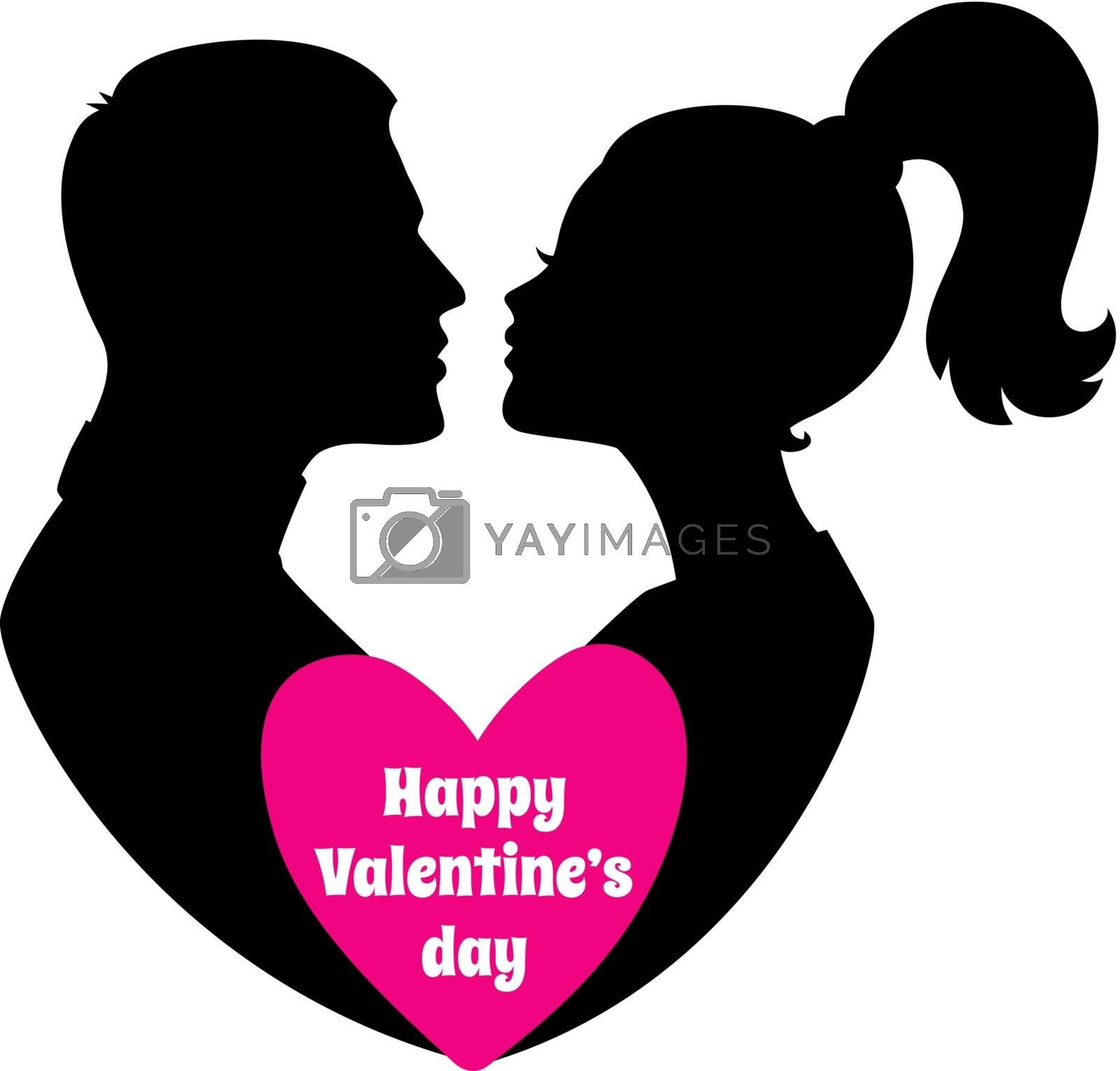 Vector illustration of Happy Valentine's day, couple silhouette image