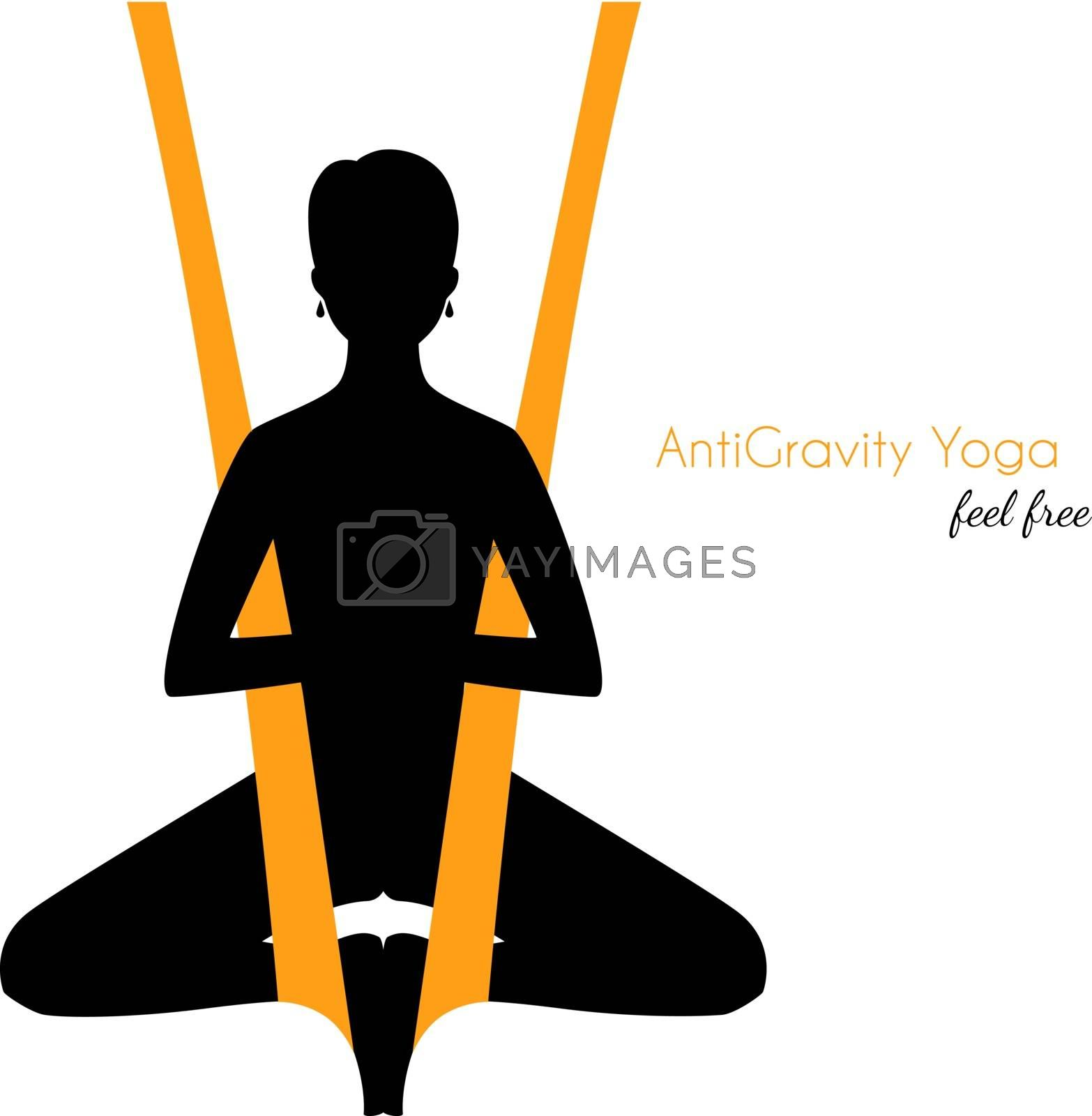 Vector illustration of Anti-gravity yoga poses woman silhouette