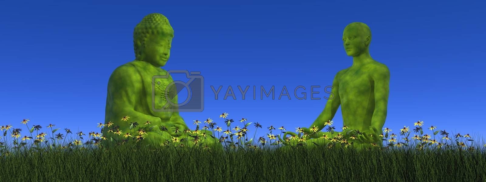 One green buddha sitting in front of green human meditating on the grass with flower by day - 3D render