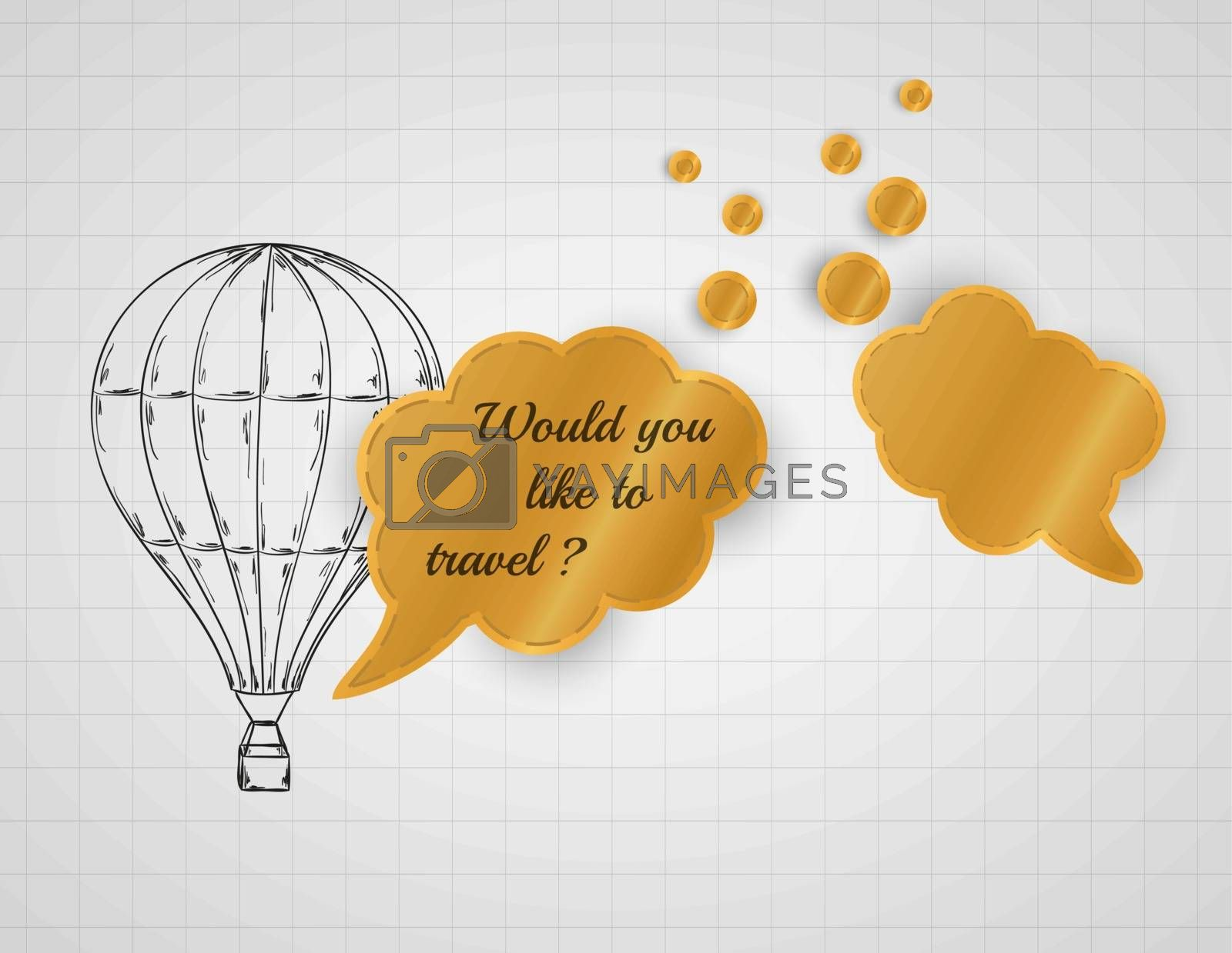 air balloon and speak bubble with would you like to travel