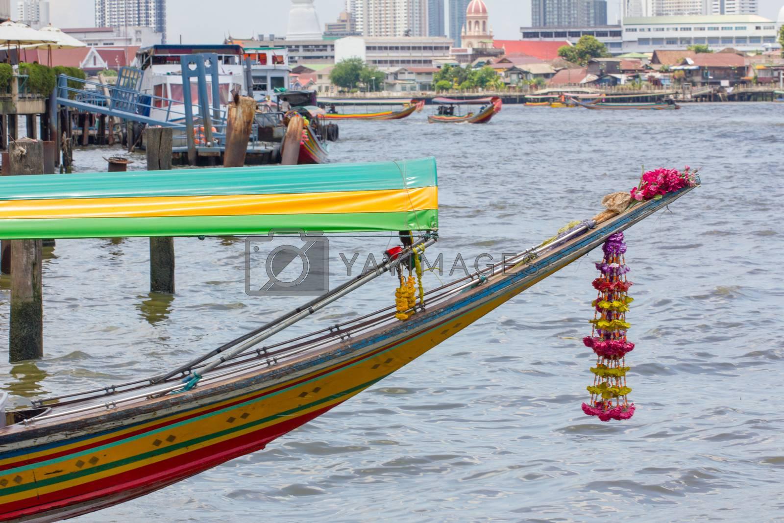 head of passenger ship at harbor, chao phraya river, thailand