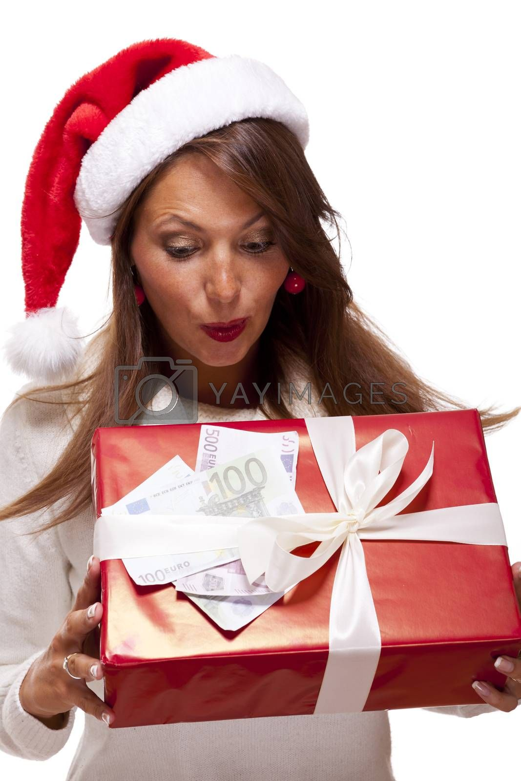 Young woman with an Xmas gift and money by juniart