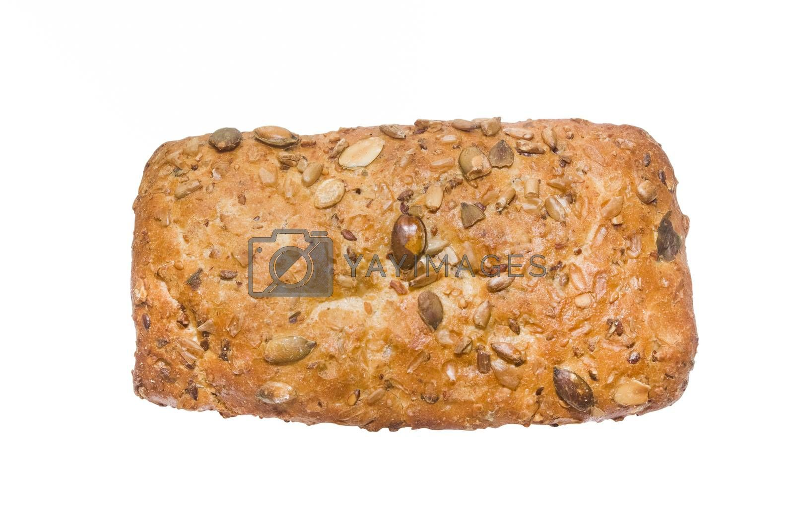 isolated german bread with seeds with clipping path in jpg.
