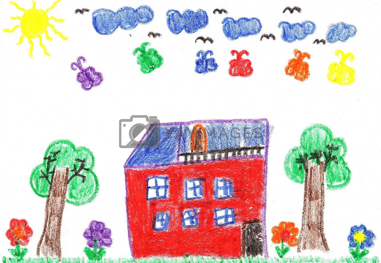 Child's drawing of a country house