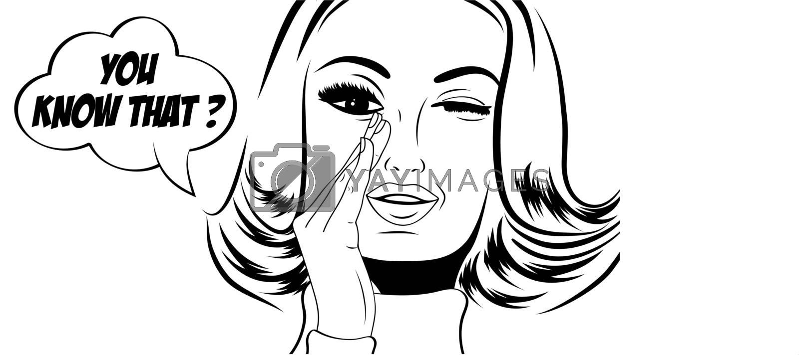 pop art cute retro woman in comics style with message, vector illustration