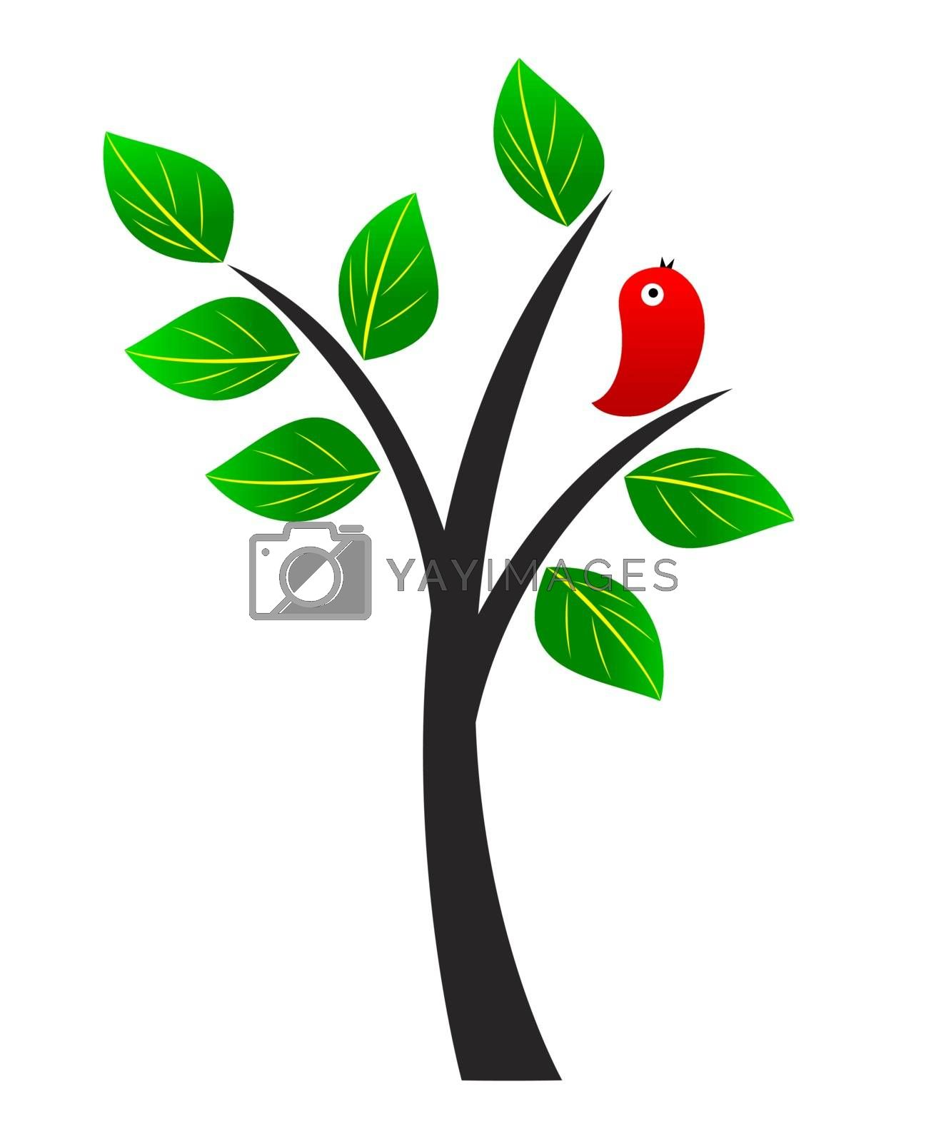 Tree with green leaves and red bird.