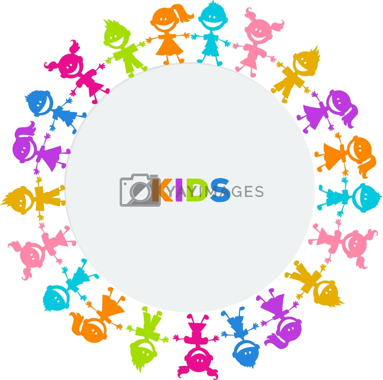 Vector illustration of Colorful kids friends image