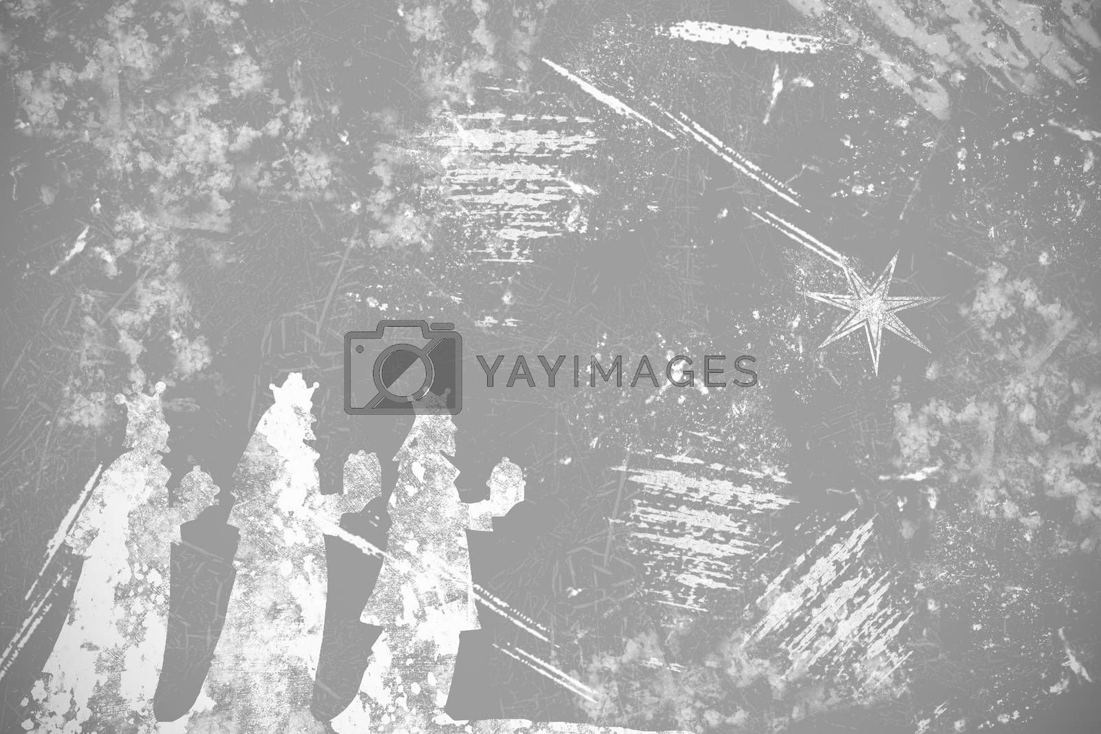 abstract black and white background with grungy texture for christmas