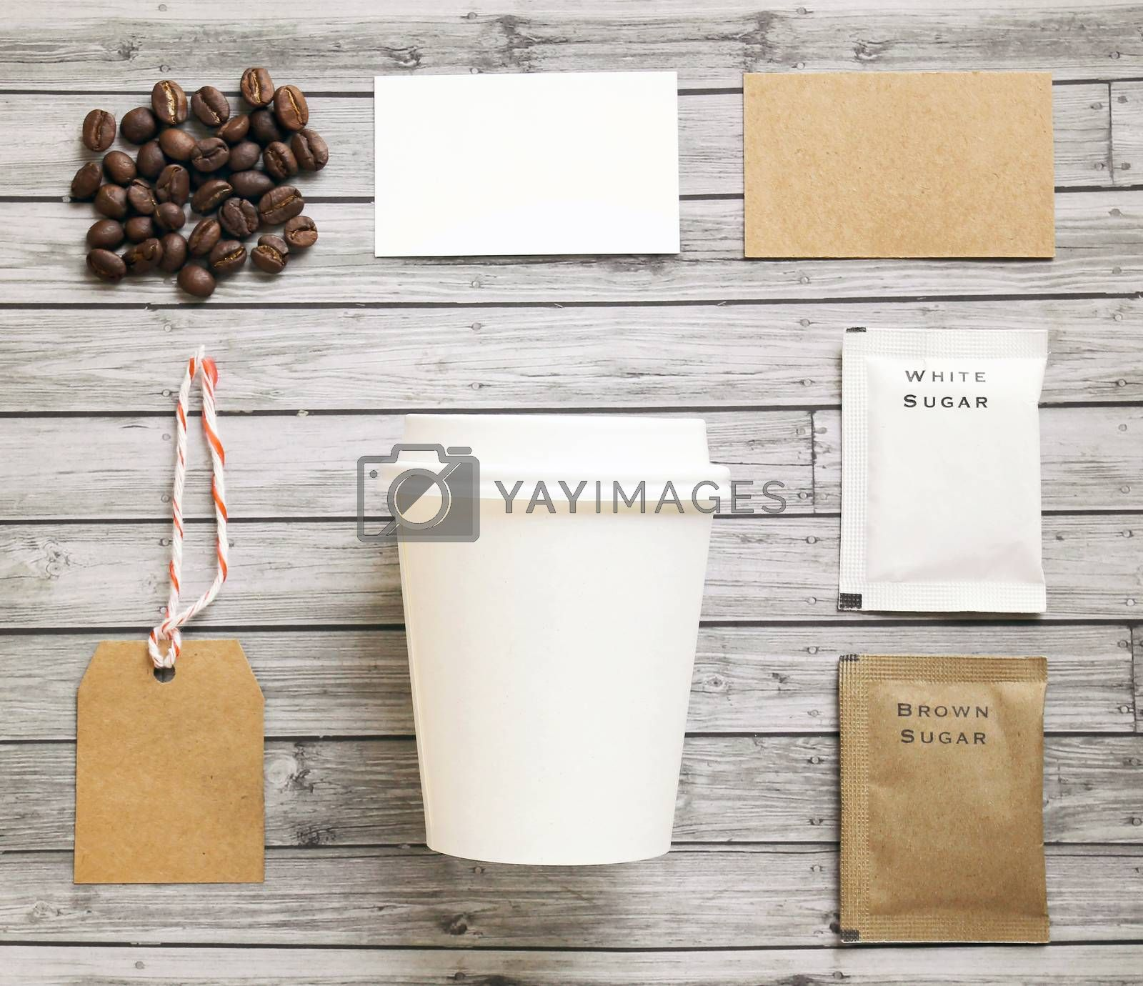 Coffee identity mockup set with retro filter effect