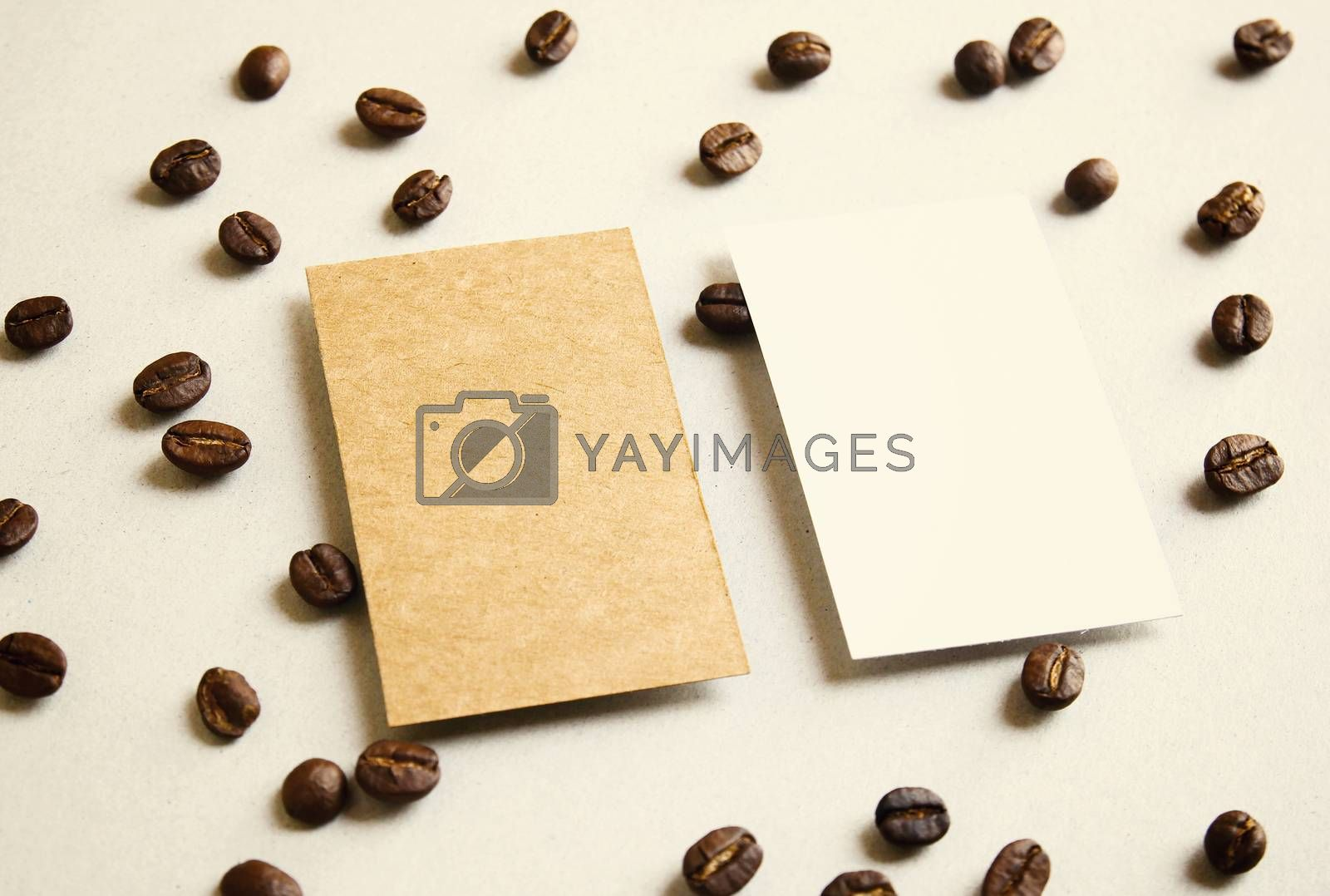 Blank business name card on coffee beans with retro filter effect