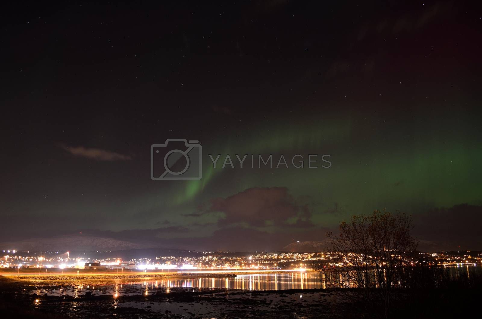 vivid strong aurora borealis over the arctic city of tromsoe in late autumn