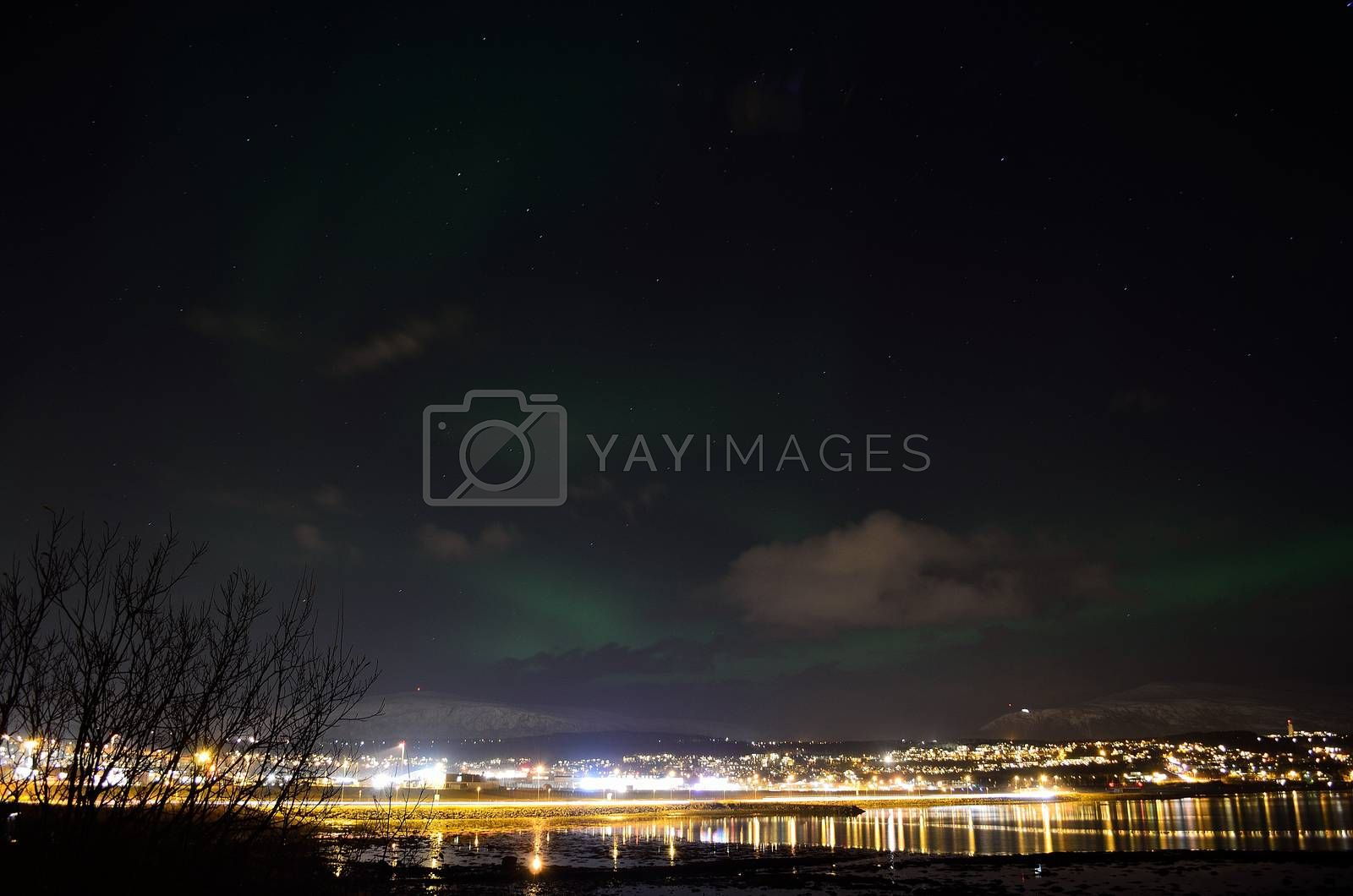 magnificent aurora borealis over arctic city lights, fjord and mountain landscape