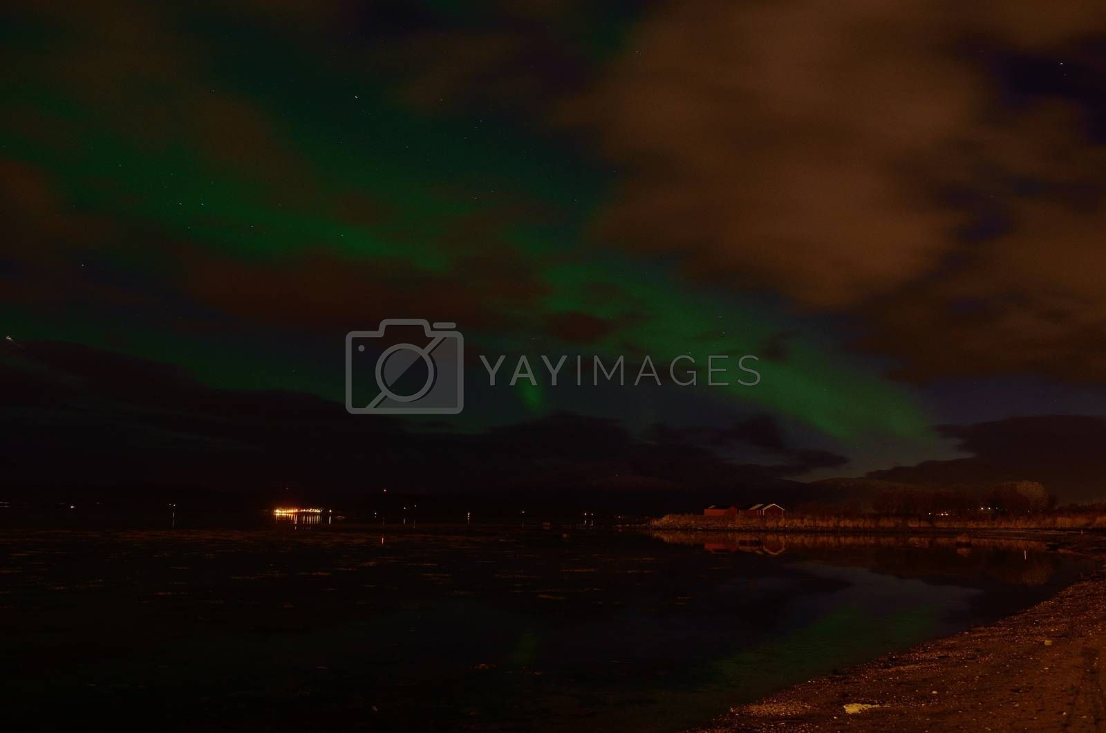 beautiful aurora borealis on the arctic night sky in late autumn