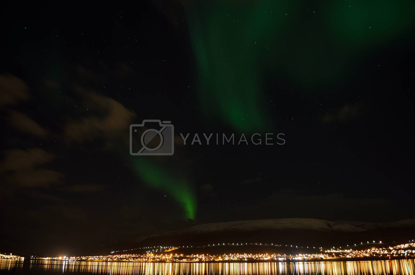 strong vibrant aurora borealis, northern light in autumn night in the arctic circle