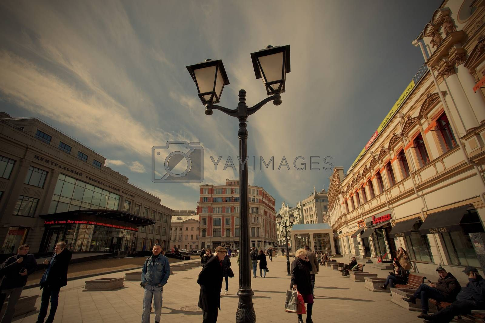Moscow, Russia, Kuznetsky Most street at spring morning, 2014, april, instagram image style, editorial use only