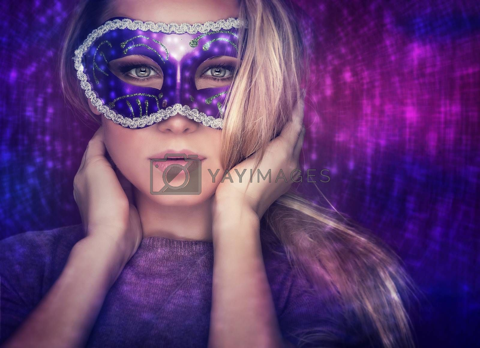 Beautiful female wearing mask, mysterious girl with nice makeup at masquerade, stylish woman portrait studio shot over party light background, holiday celebration