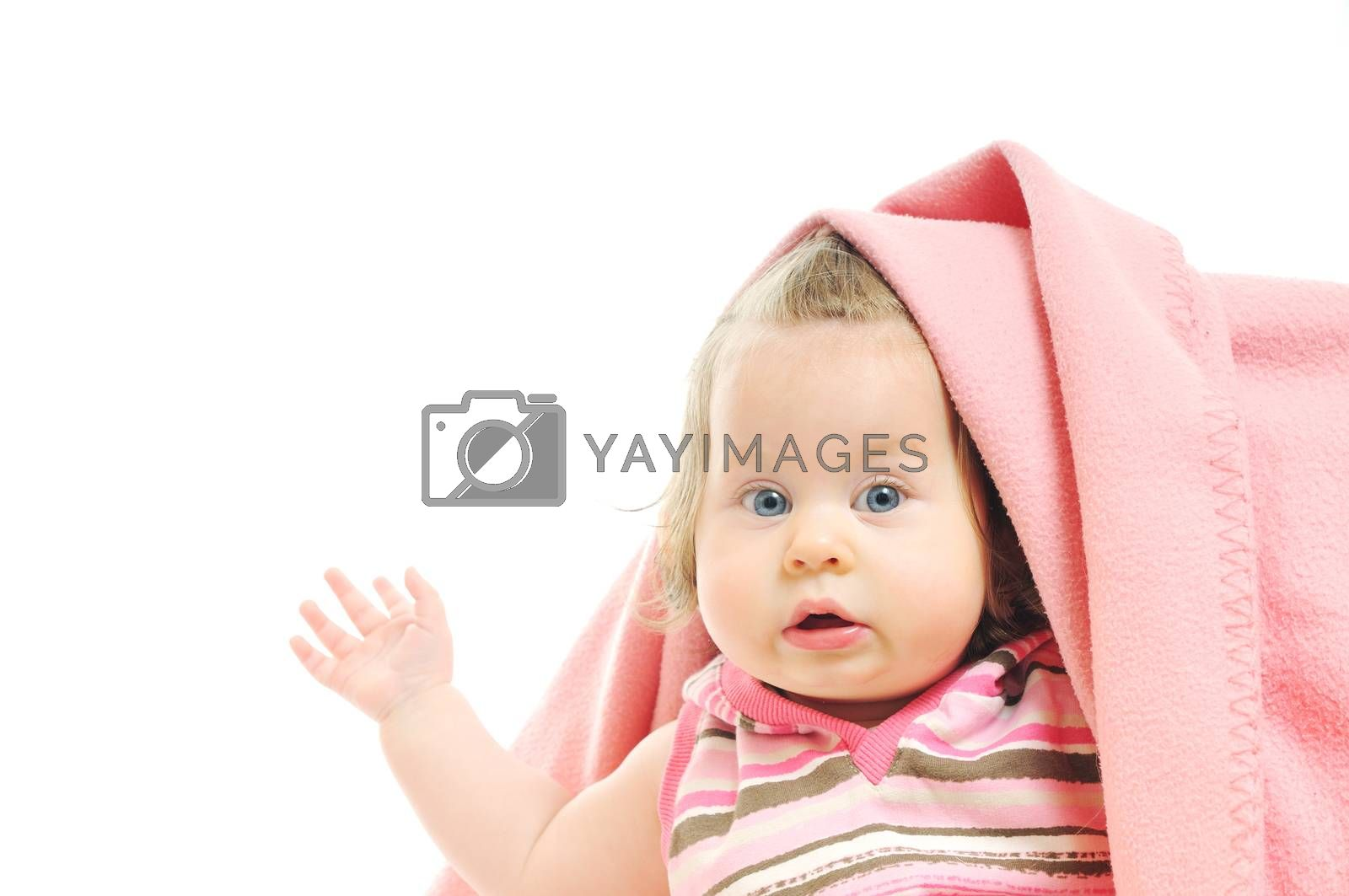 cute little baby isolated on white under blanket alone