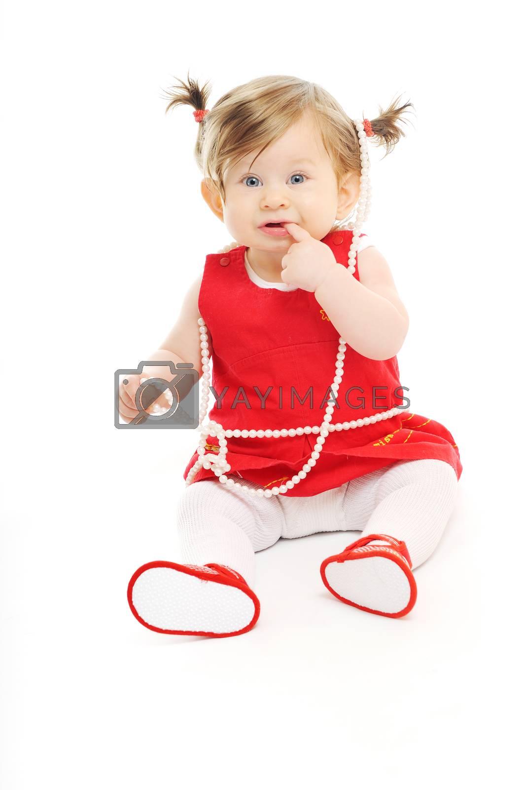 one happy  baby child isolated on white background
