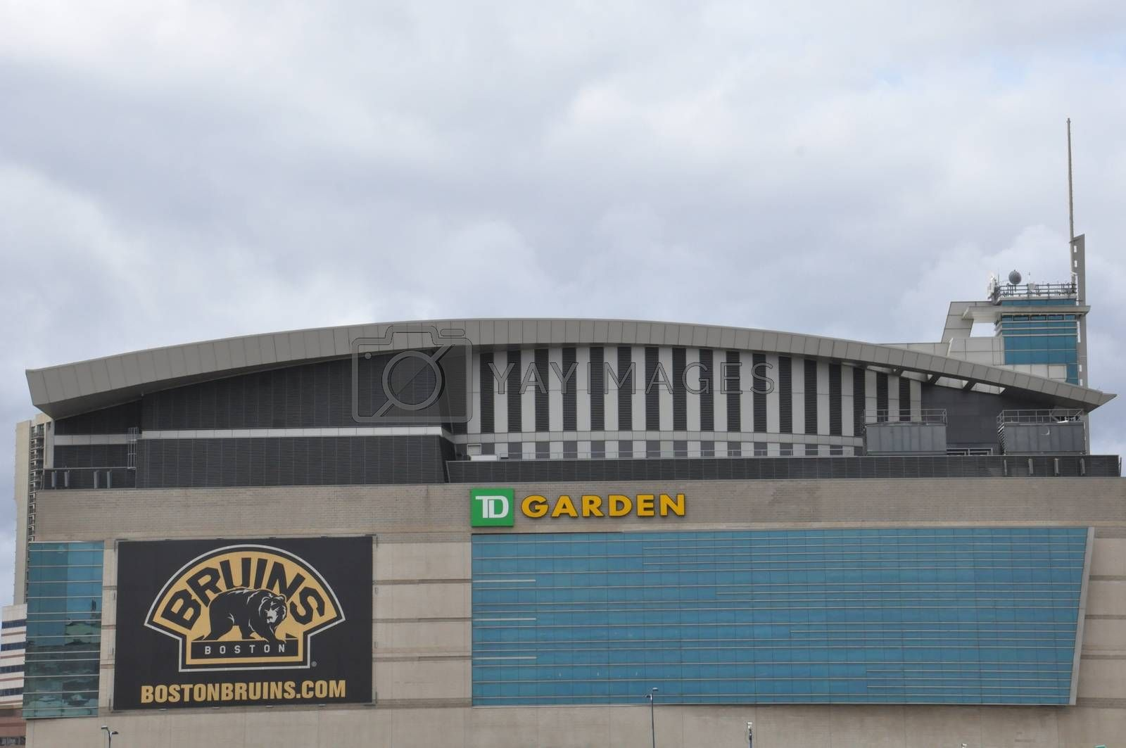 TD Garden in Boston. This is the home stadium of the Boston Bruins hockey team and the Boston Celtics baseball team located in Boston.