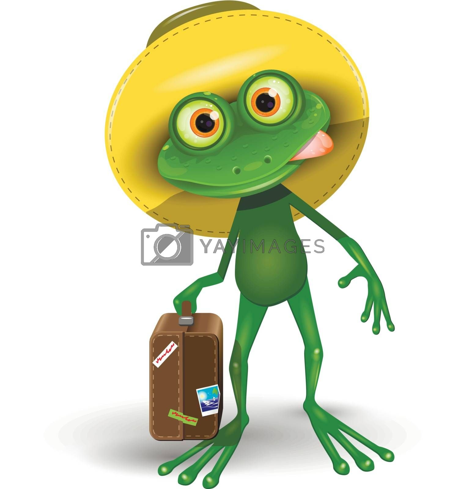 Illustration Green Frog with a Suitcase