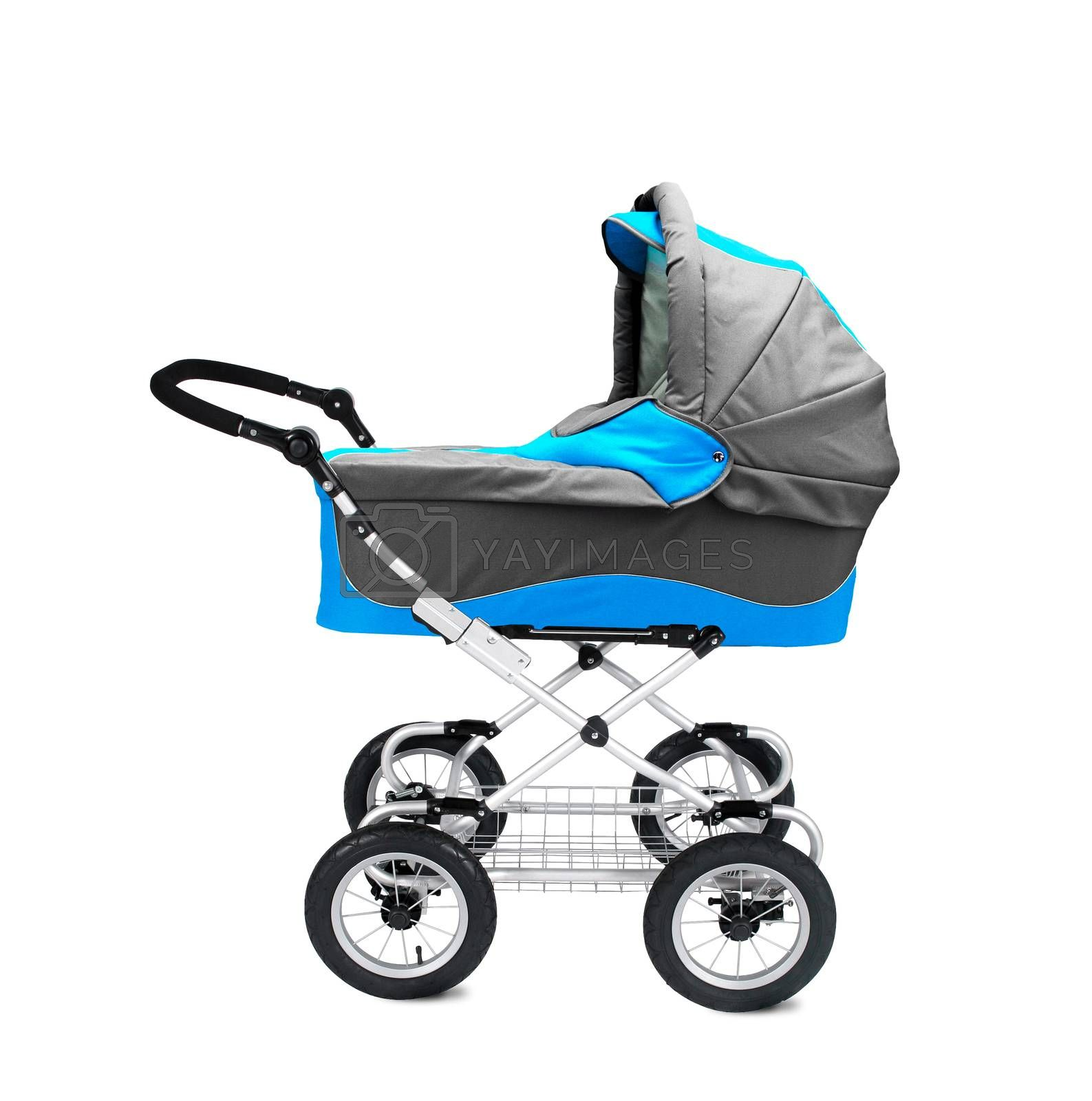 A modern pram isolated on white backgrond