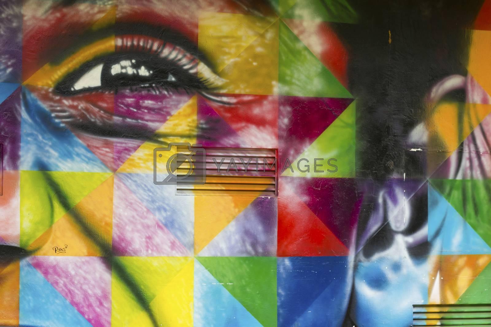 SAO PAULO, BRAZIL – FEBRUARY 01, 2015: A big and color mural on the wall from Brazilian graffiti artist Kobra at Ibirapuera Park in Sao Paulo Brazil.