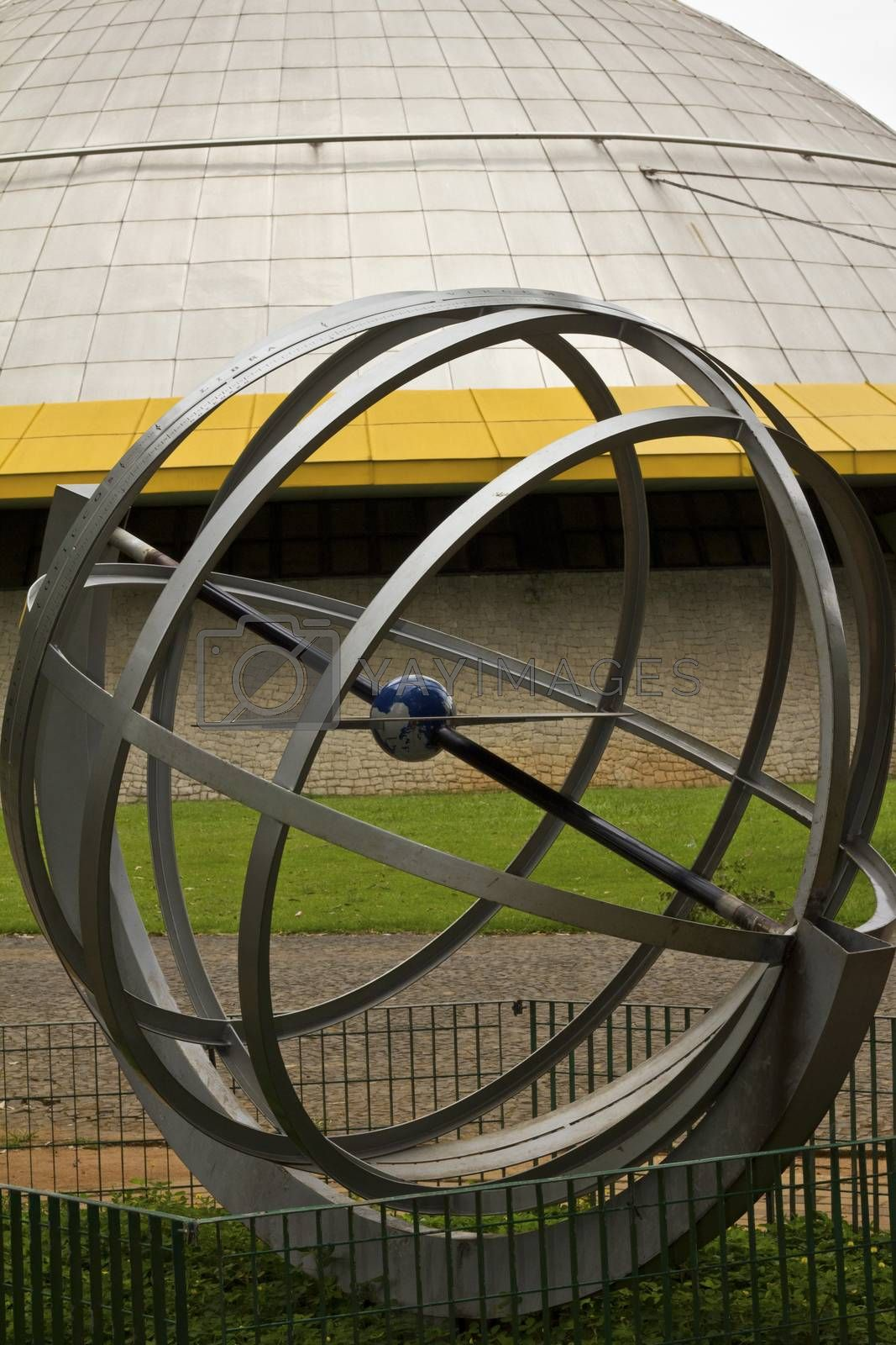 SAO PAULO, BRAZIL - FEBRUARY 01, 2015: A modern art monument in front of Planetarium in the Ibirapuera Park at Sao Paulo Brazil.