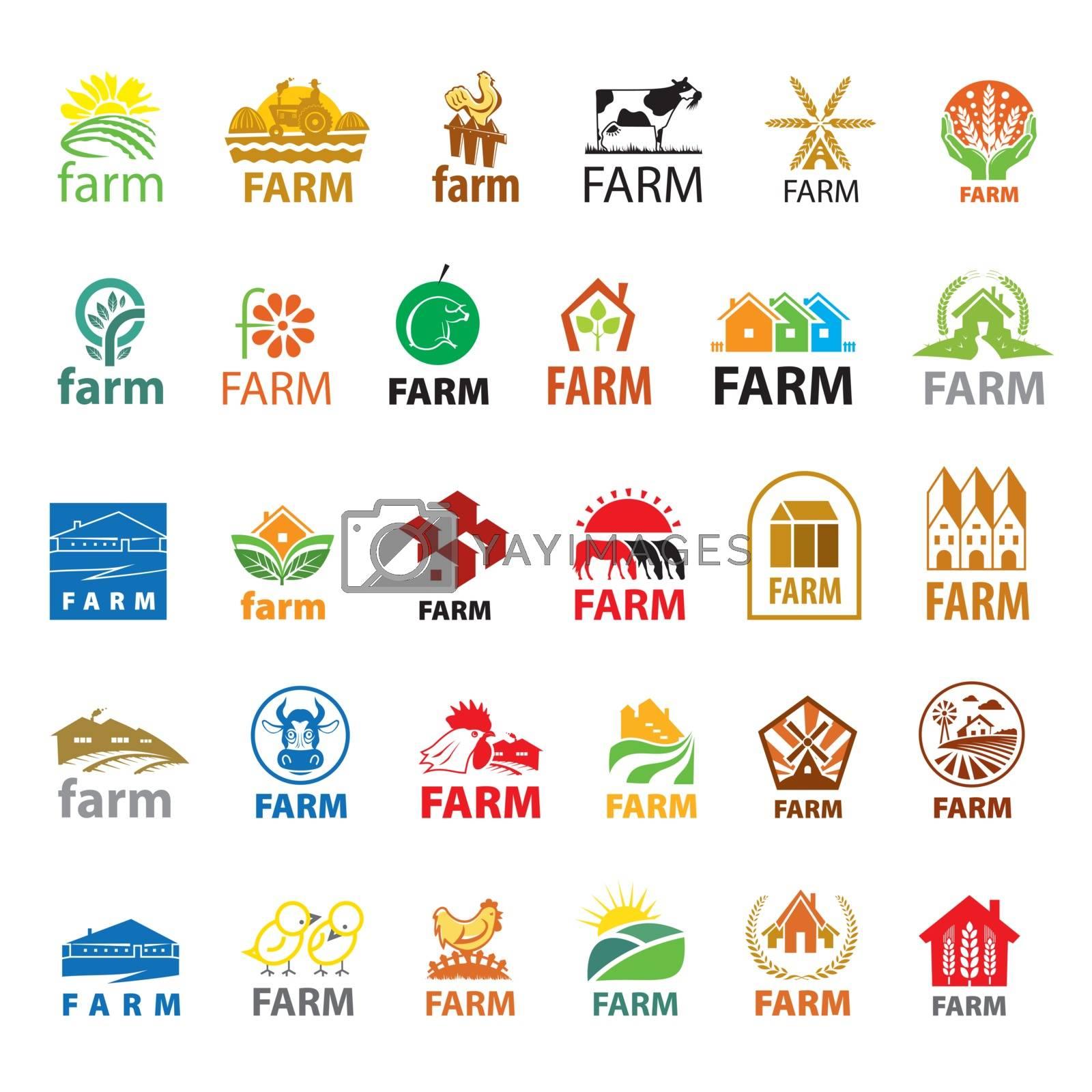 large set of vector logos farm