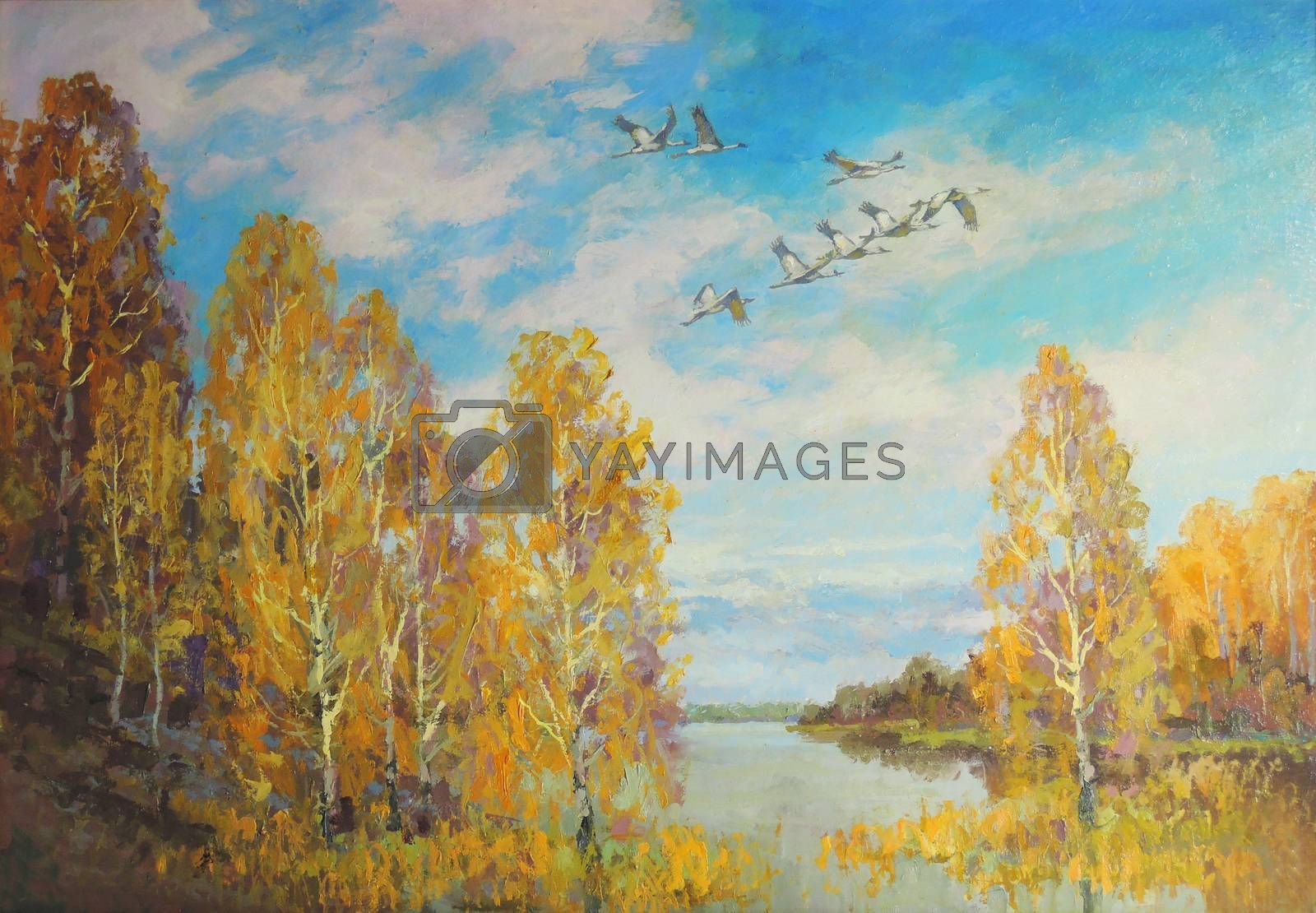 landscape picture autumn forest and river