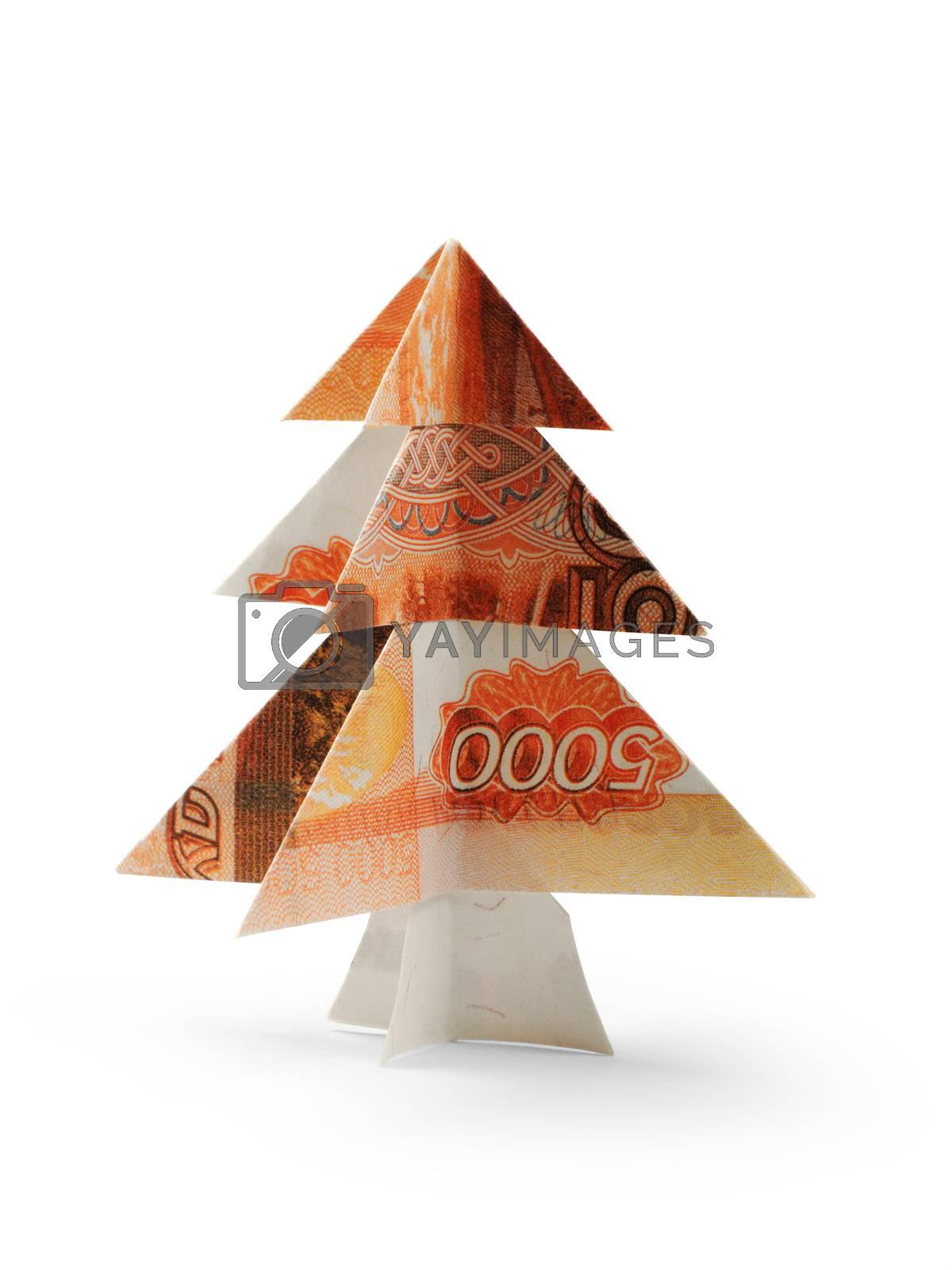 Christmas tree made of five thousandth ruble bills