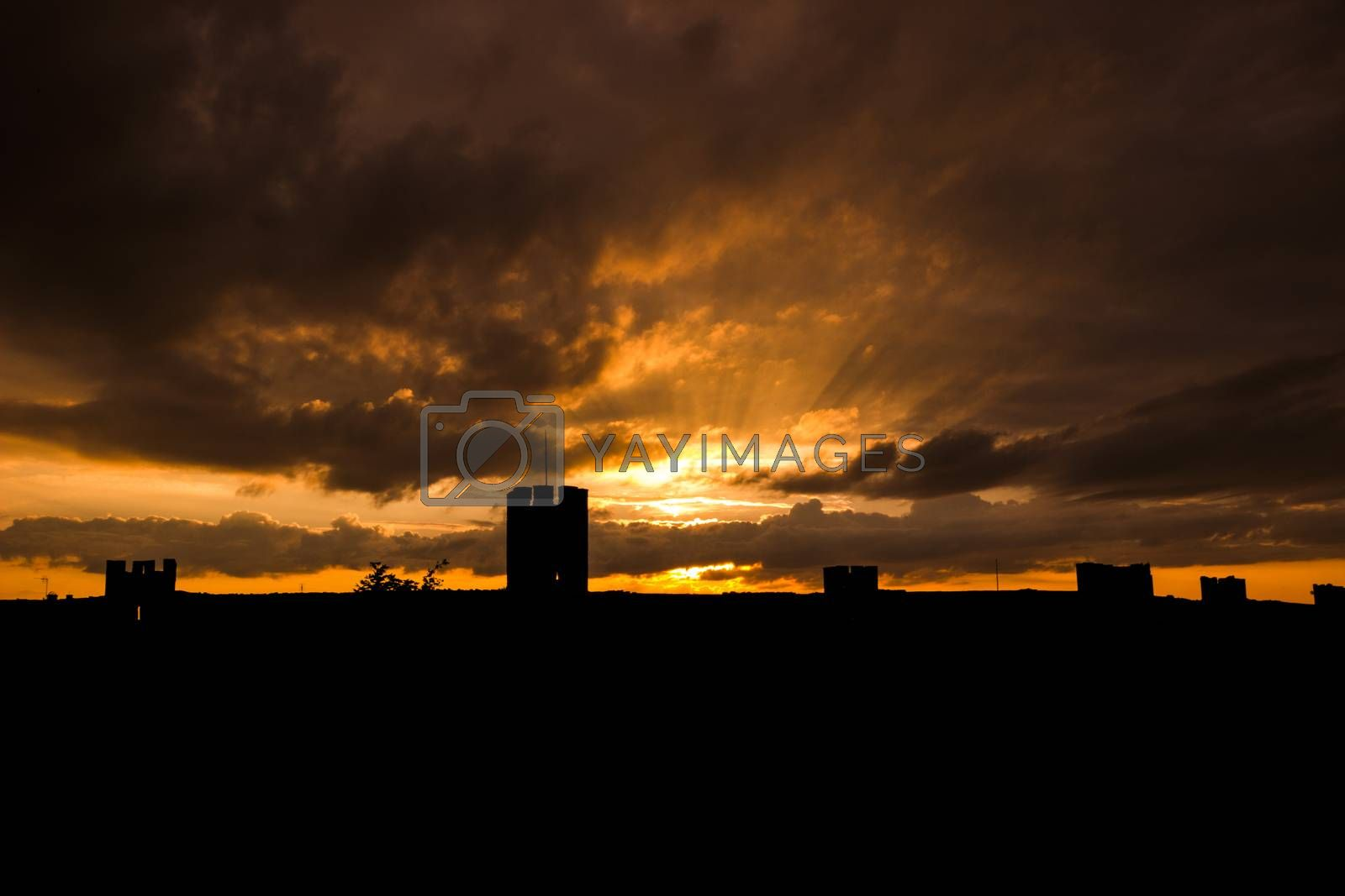 Sunset over the Town-Wall in Visby, Sweden