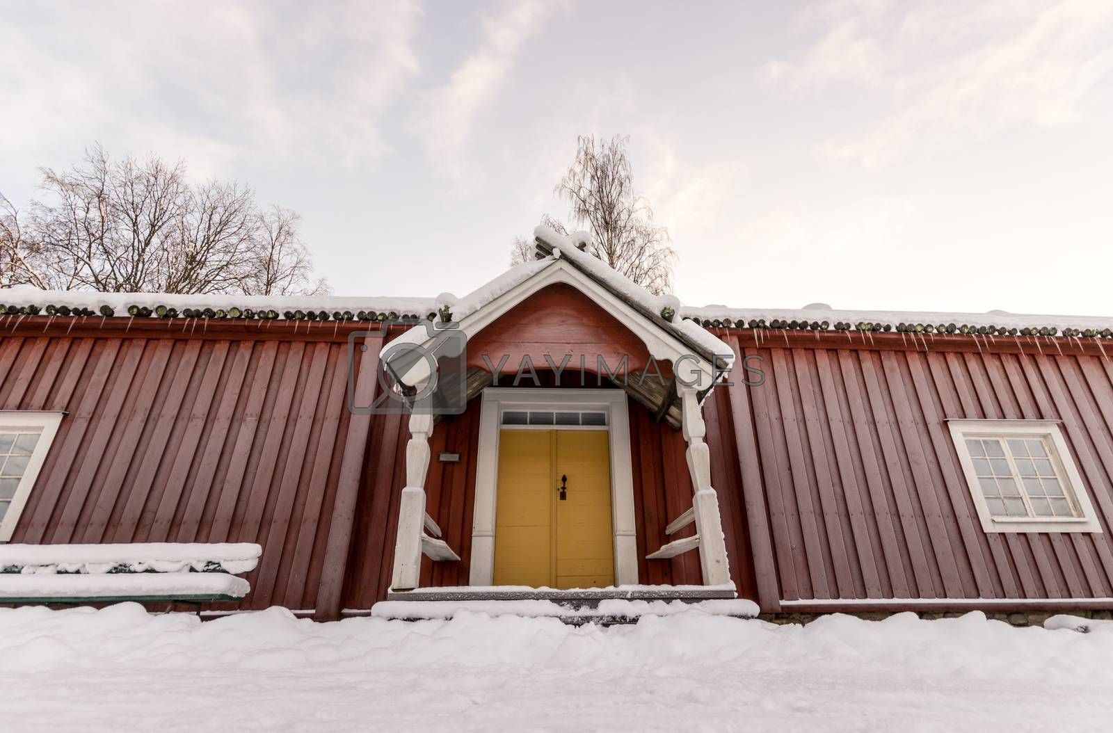 Traditional Swedish Farm House in Winter