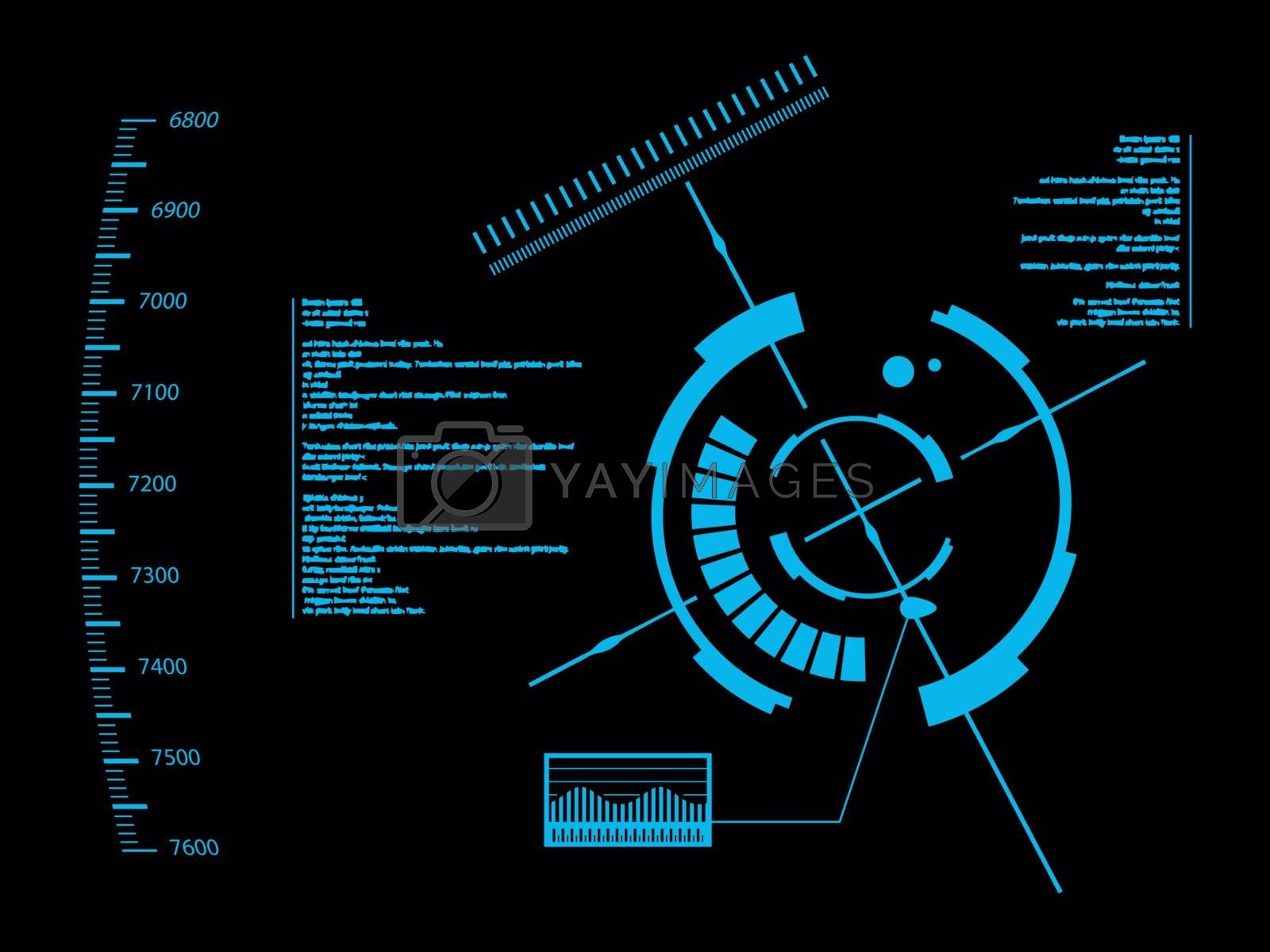 Futuristic blue virtual graphic touch user interface HUD