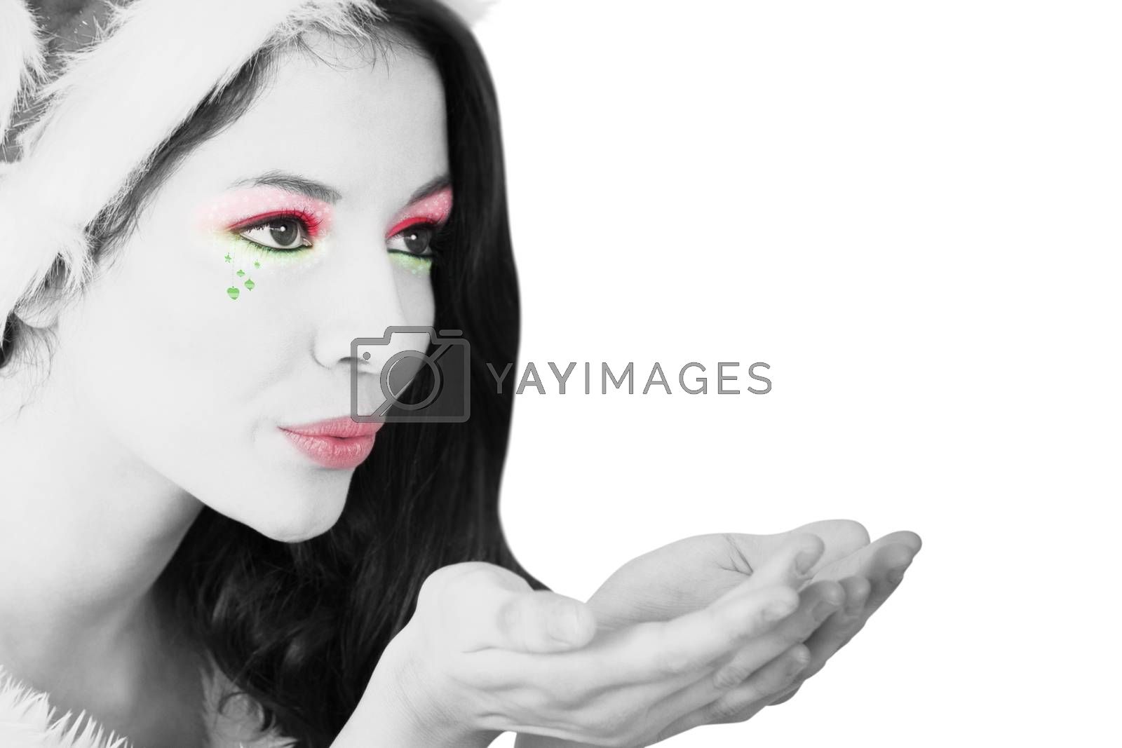 Girl with festive makeup in black and white on white background