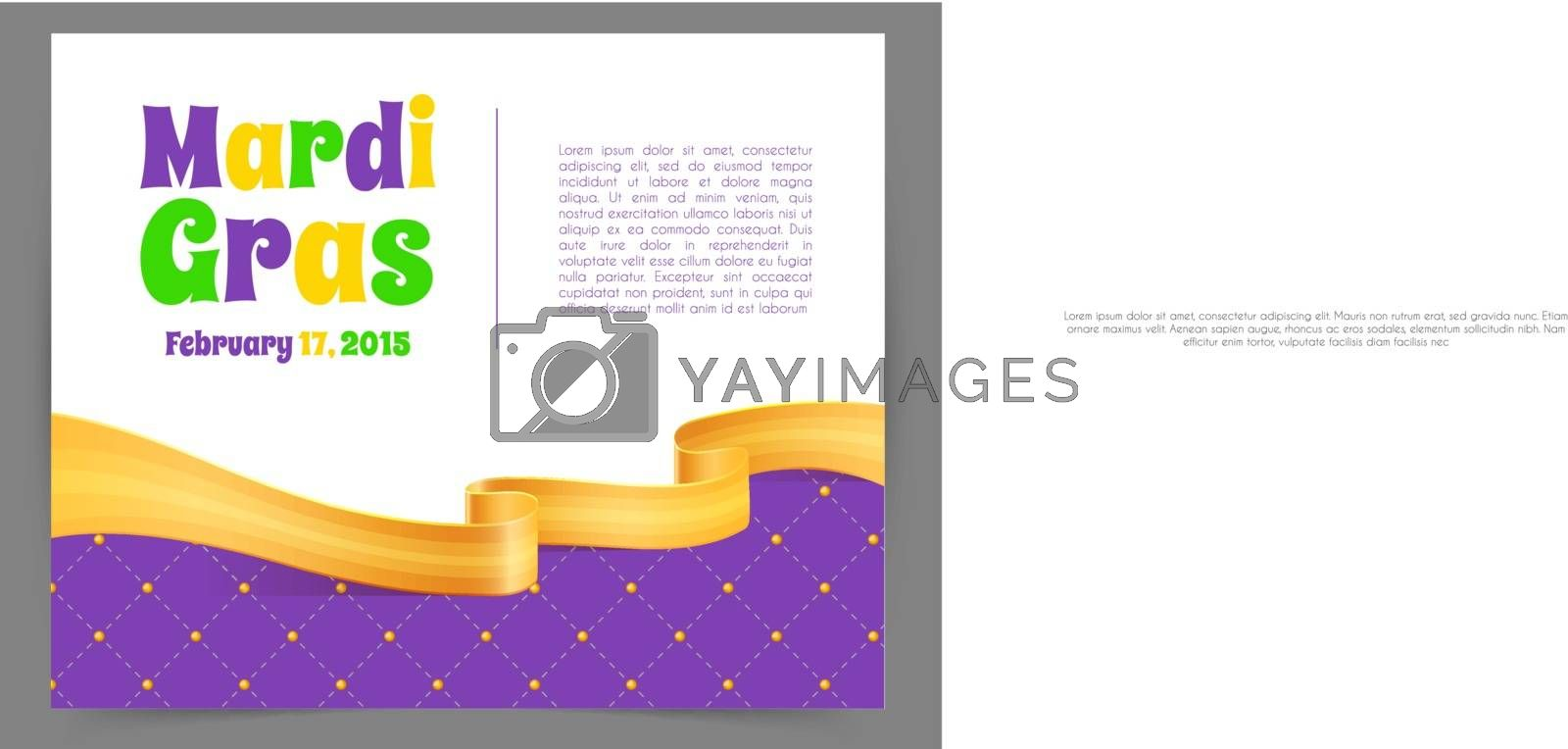 Vector illustration of Mardi Gras background with ribbon