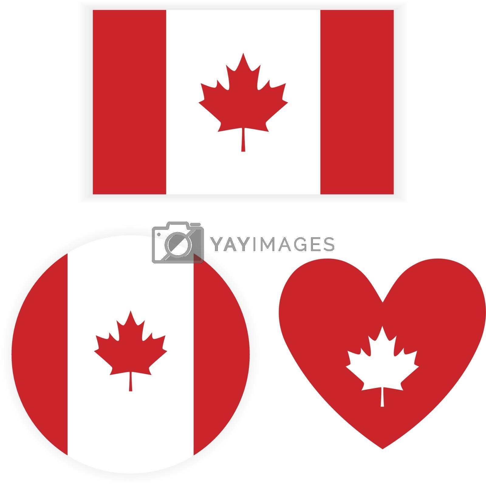 Vector illustration of Flag Canada on white background