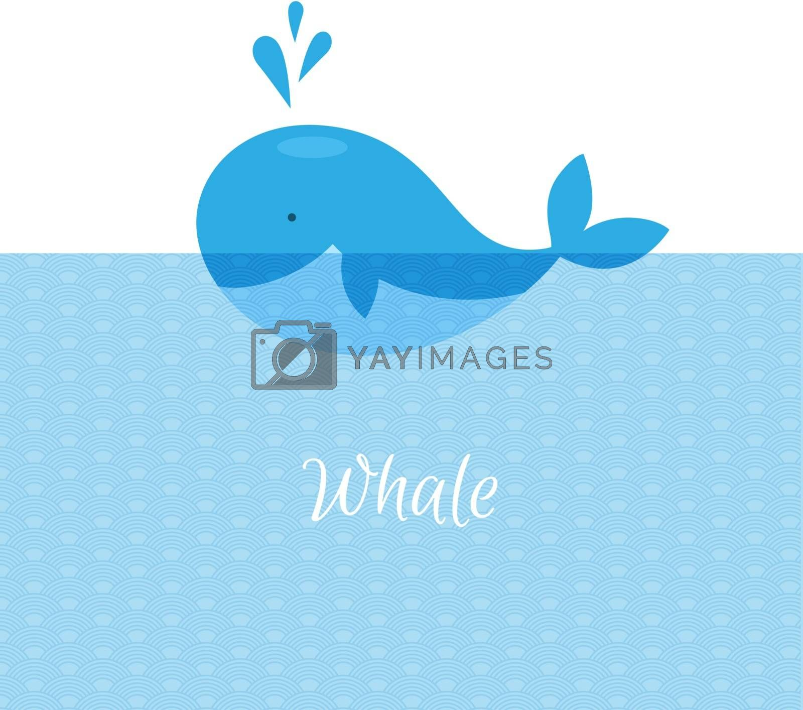 Vector illustration of Blue whale with sea