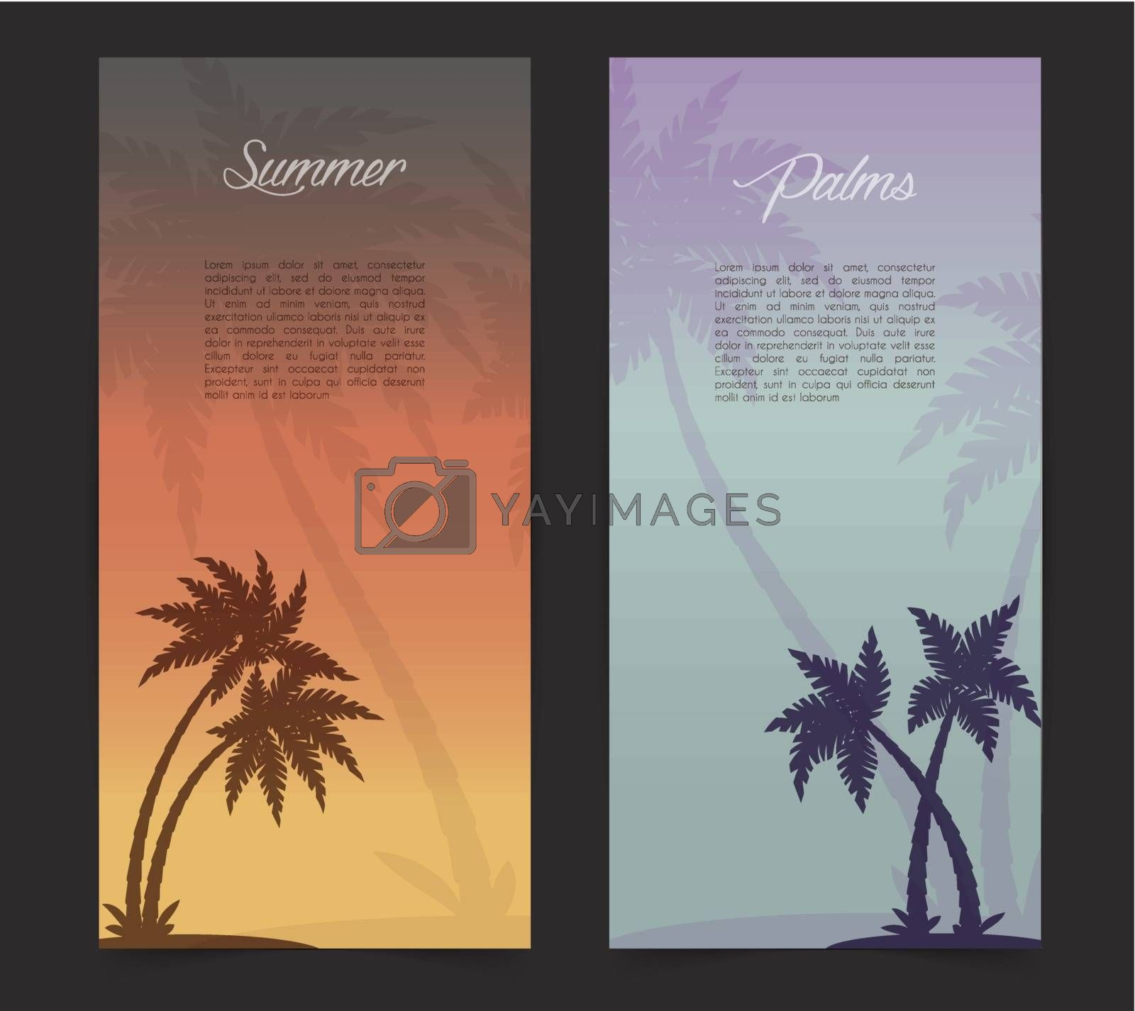 Vector illustration of Palms silhouettes card background