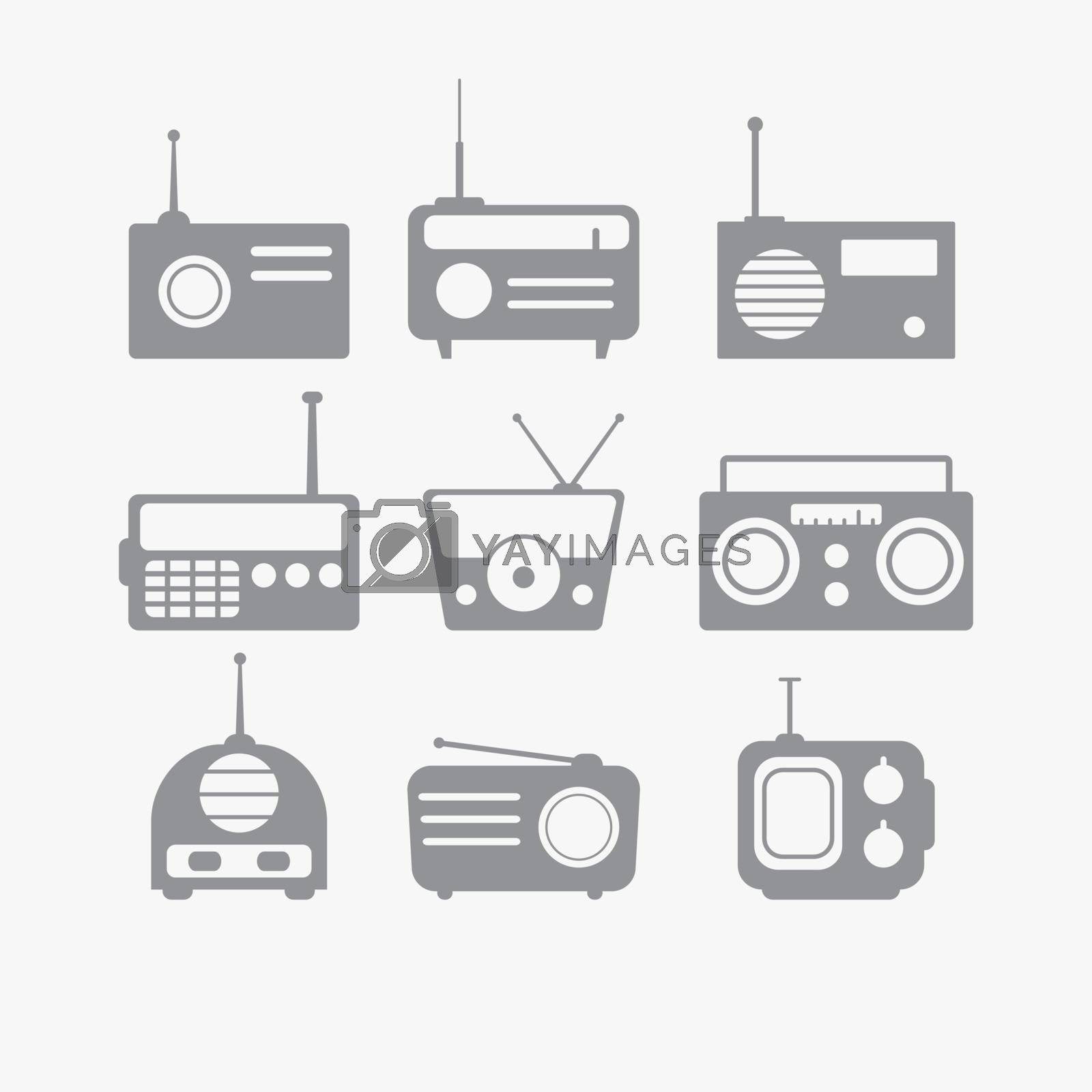 Vector illustration of Radio isolated objects set