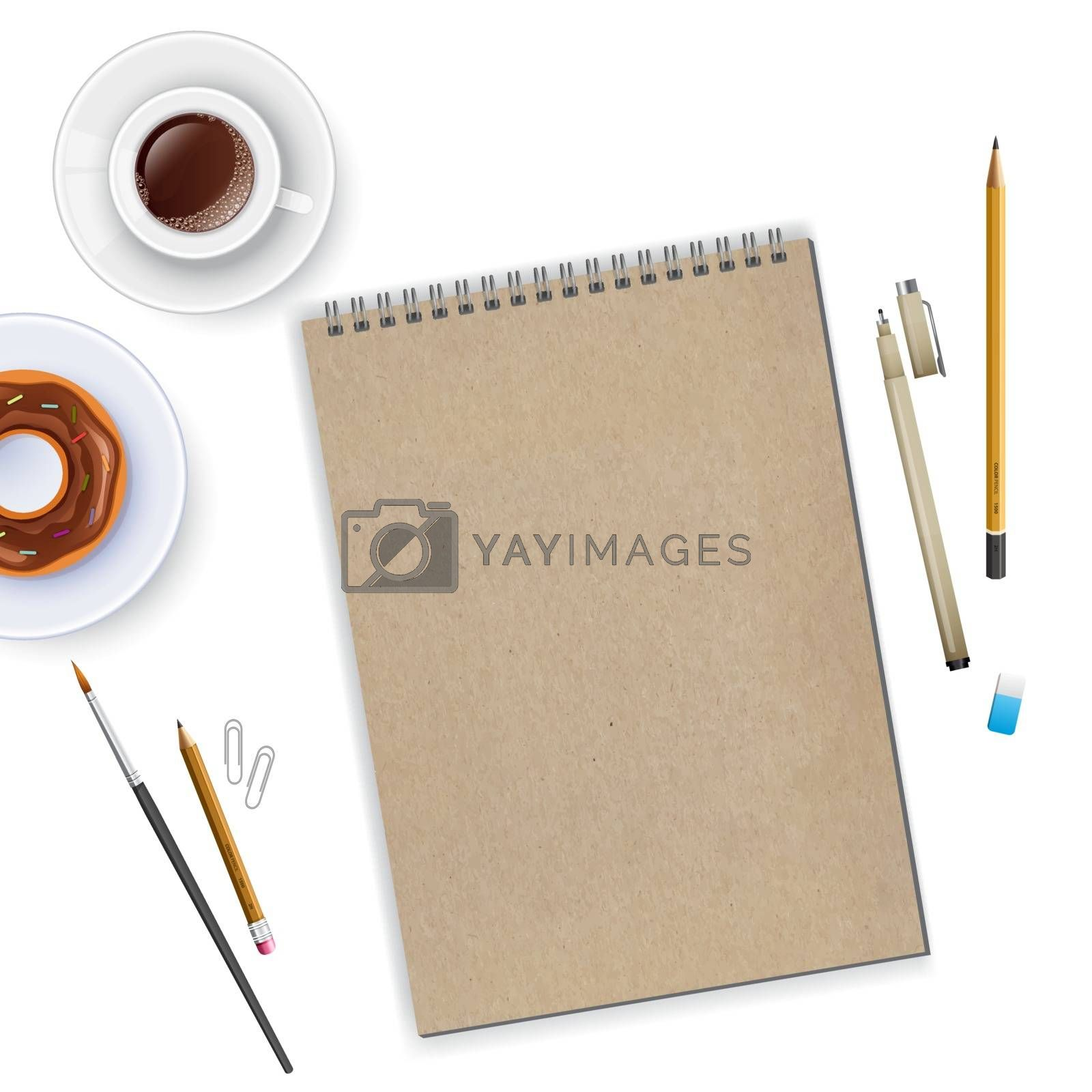 Vector illustration of Workspace with notebook and coffee