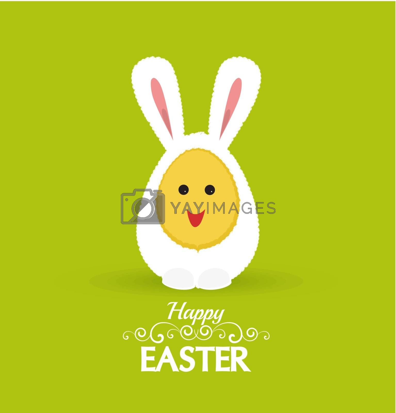 Vector Happy easter eggs in a rabbit costume
