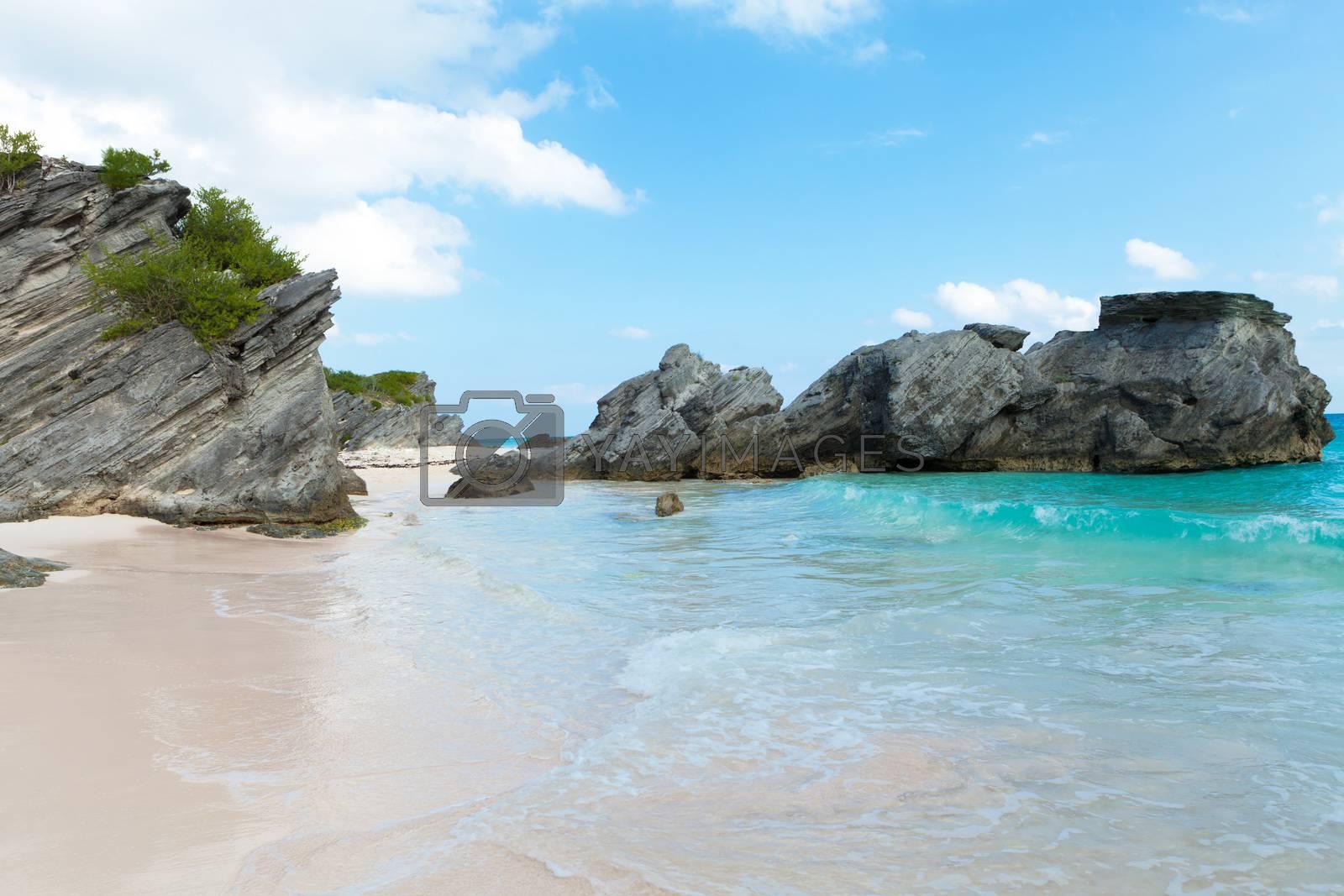 Bermuda Horseshoe Bay beach scene empty without any tourists.